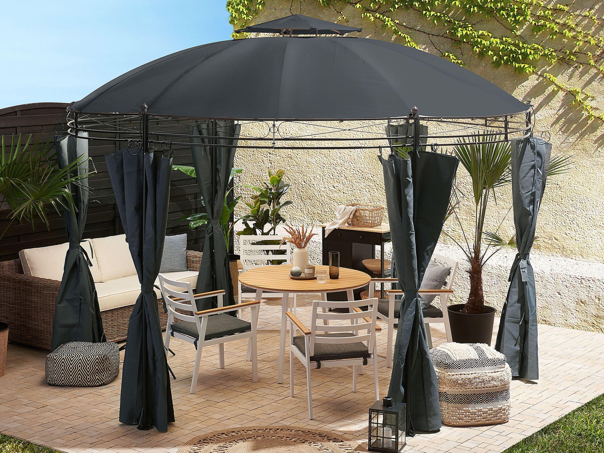 beliani gazebo da giardino acciaio e tessuto grigio tende e tetto protezione uv