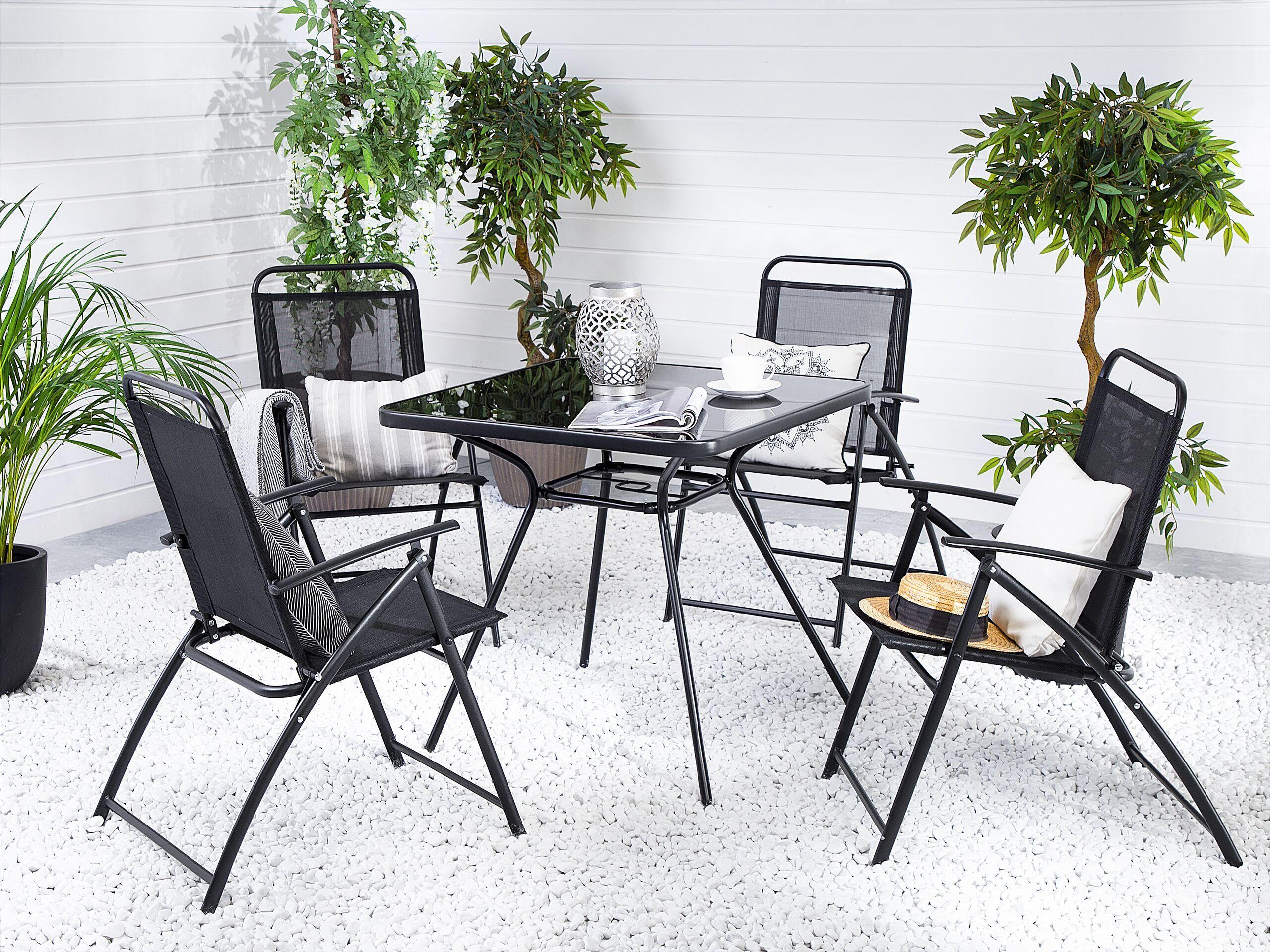 beliani tavolo da giardino vetro temperato nero struttura acciaio 80 x 80 cm