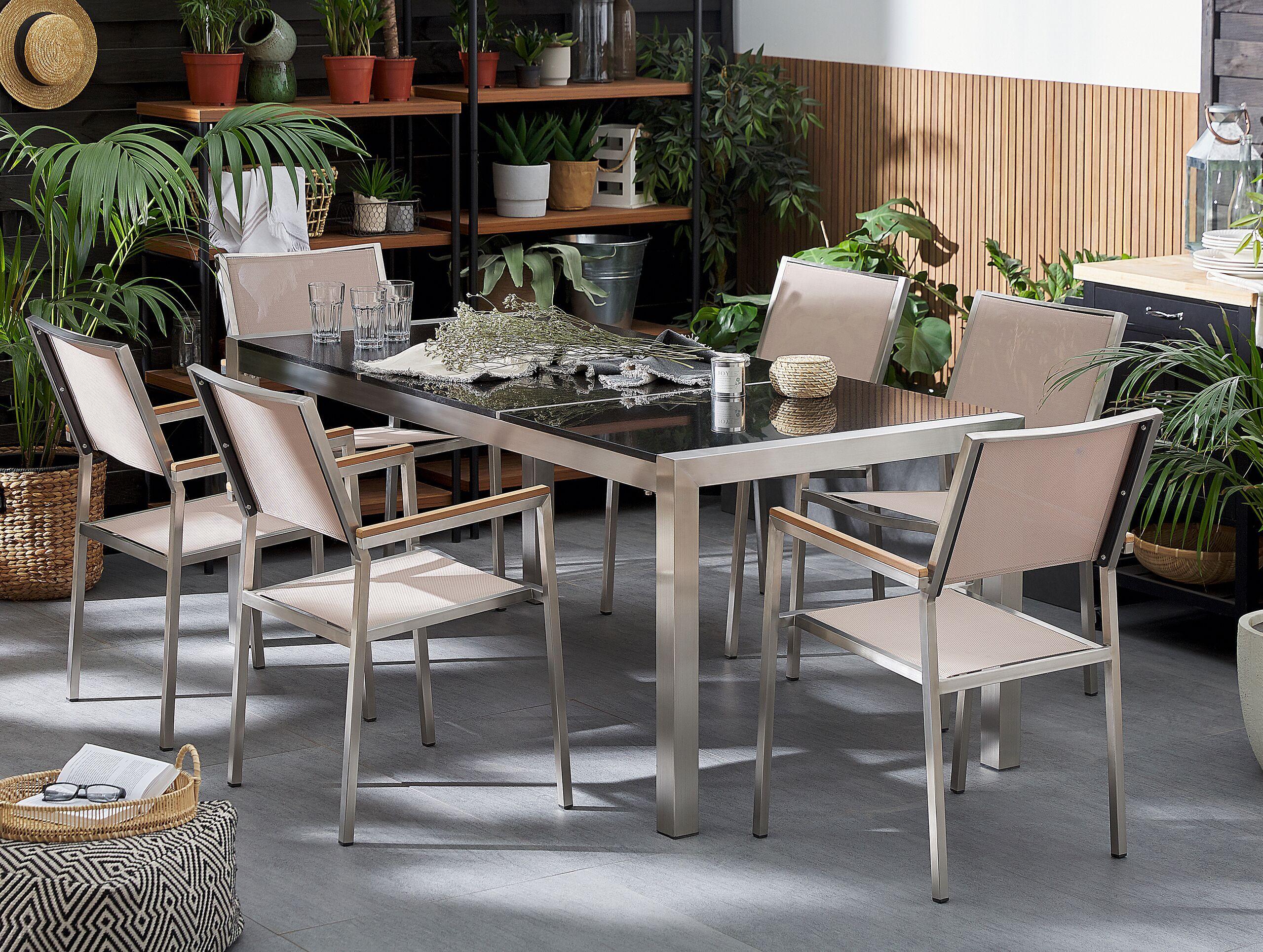 beliani tavolo da giardino granito nero gambe acciaio argento 180 x 90 cm