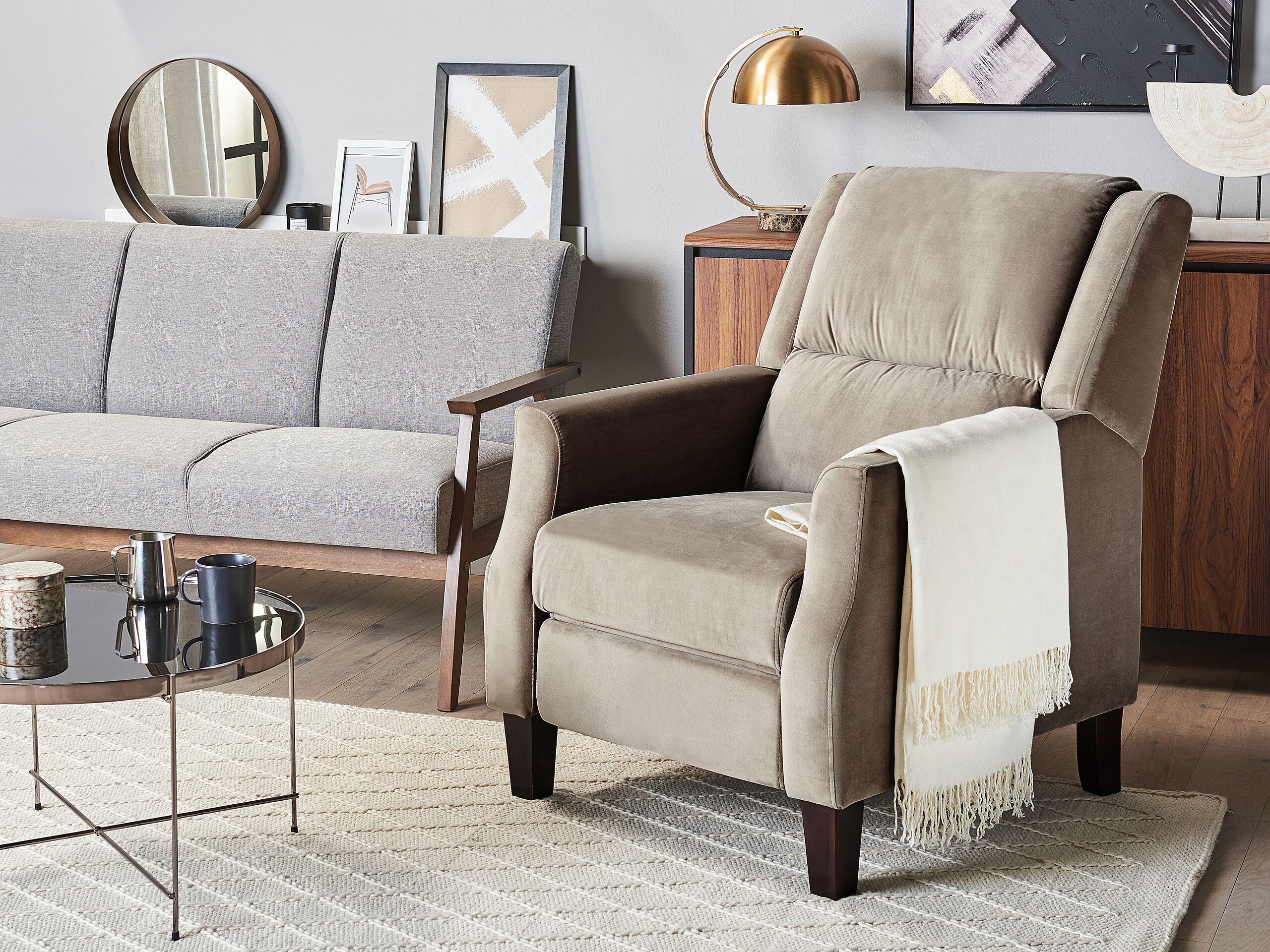 beliani poltrona relax da soggiorno in stile vintage reclinabile a mano in velluto grig