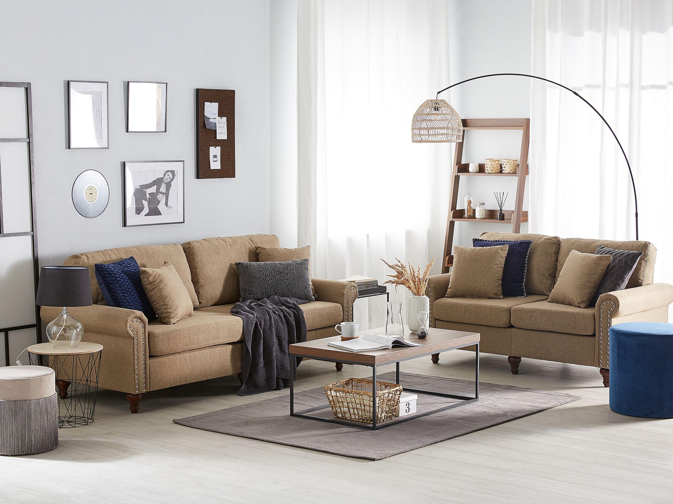 beliani set divani 5 posti colore beige sabbia