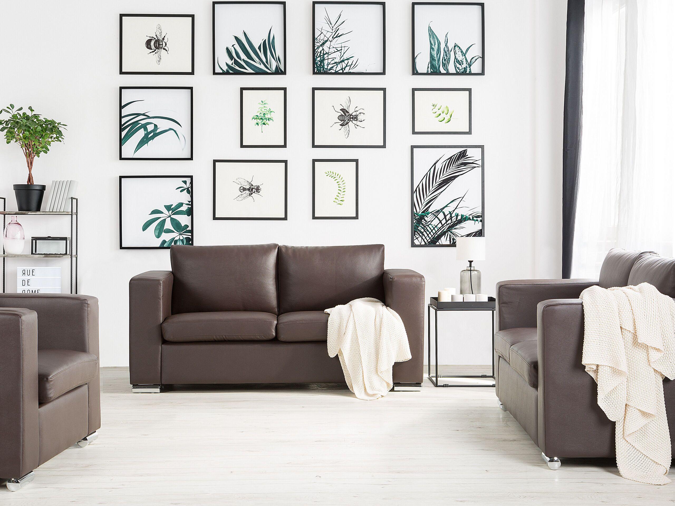 beliani set di divani e poltrona 6 posti in pelle marrone