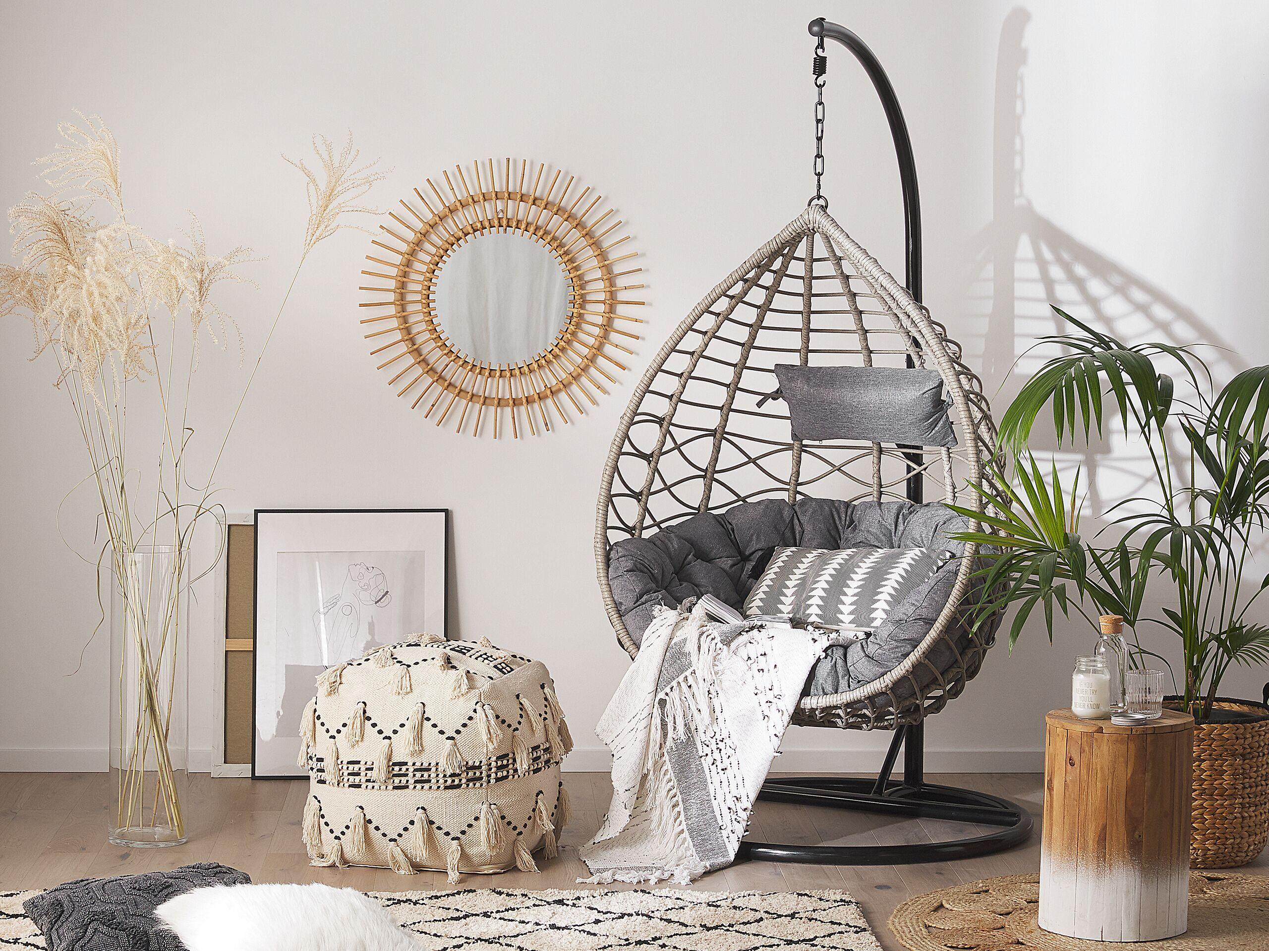 beliani sedia sospesa con cesta di rattan grigio per interno ed esterno