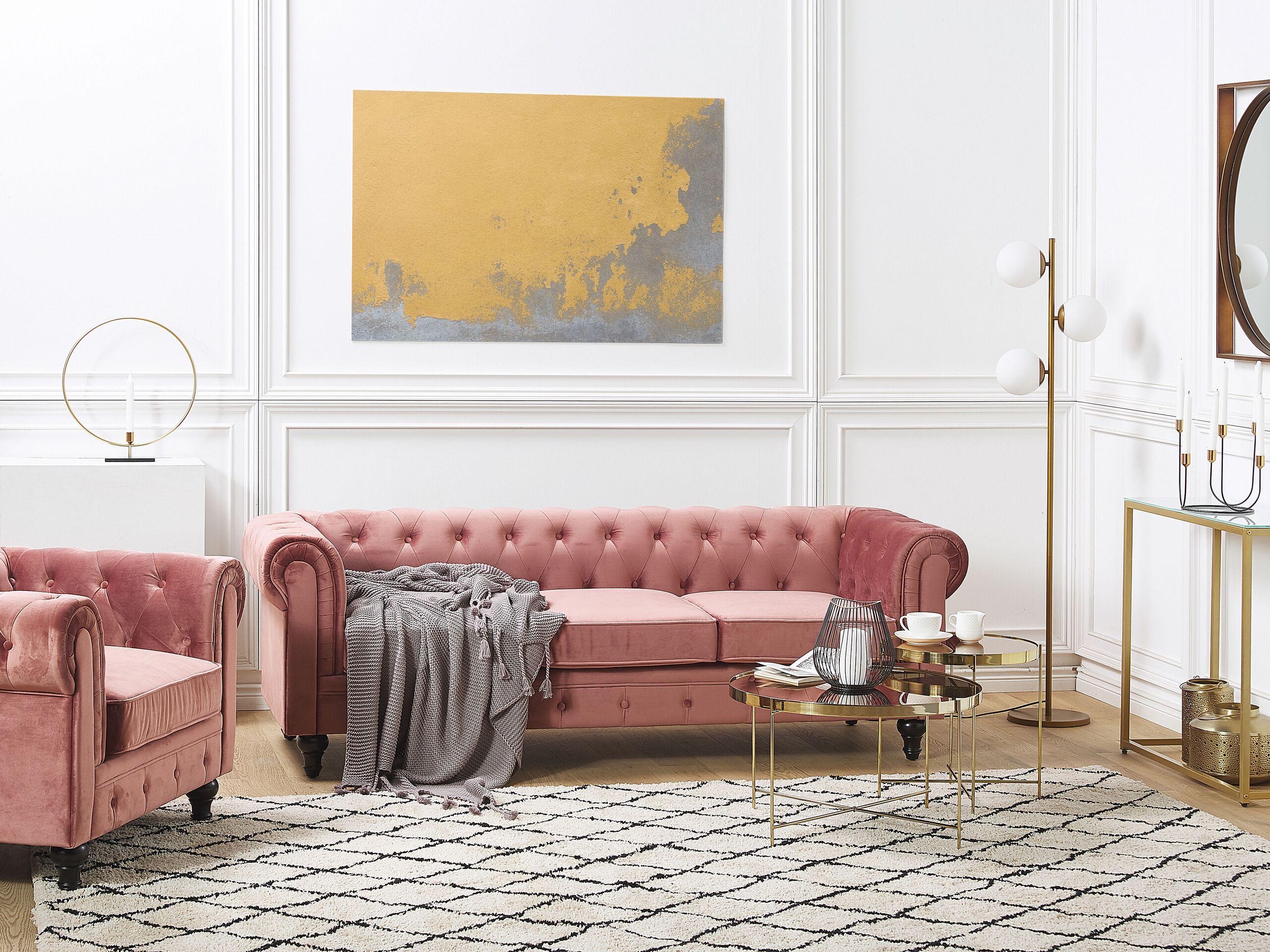 beliani set da salotto divano + poltrona chesterfield velluto rosa gambe nere
