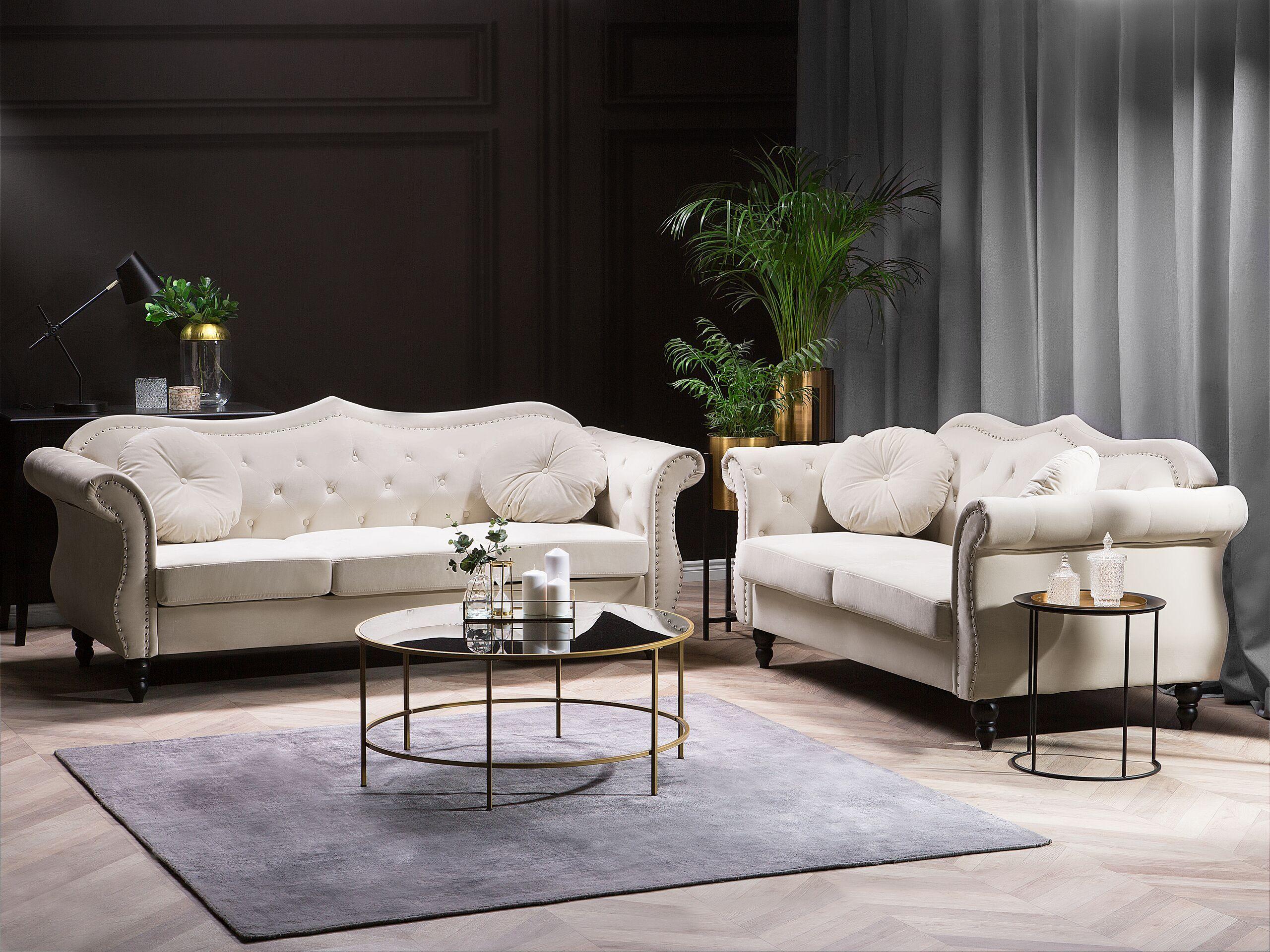 beliani set divani in velluto beige 5 posti