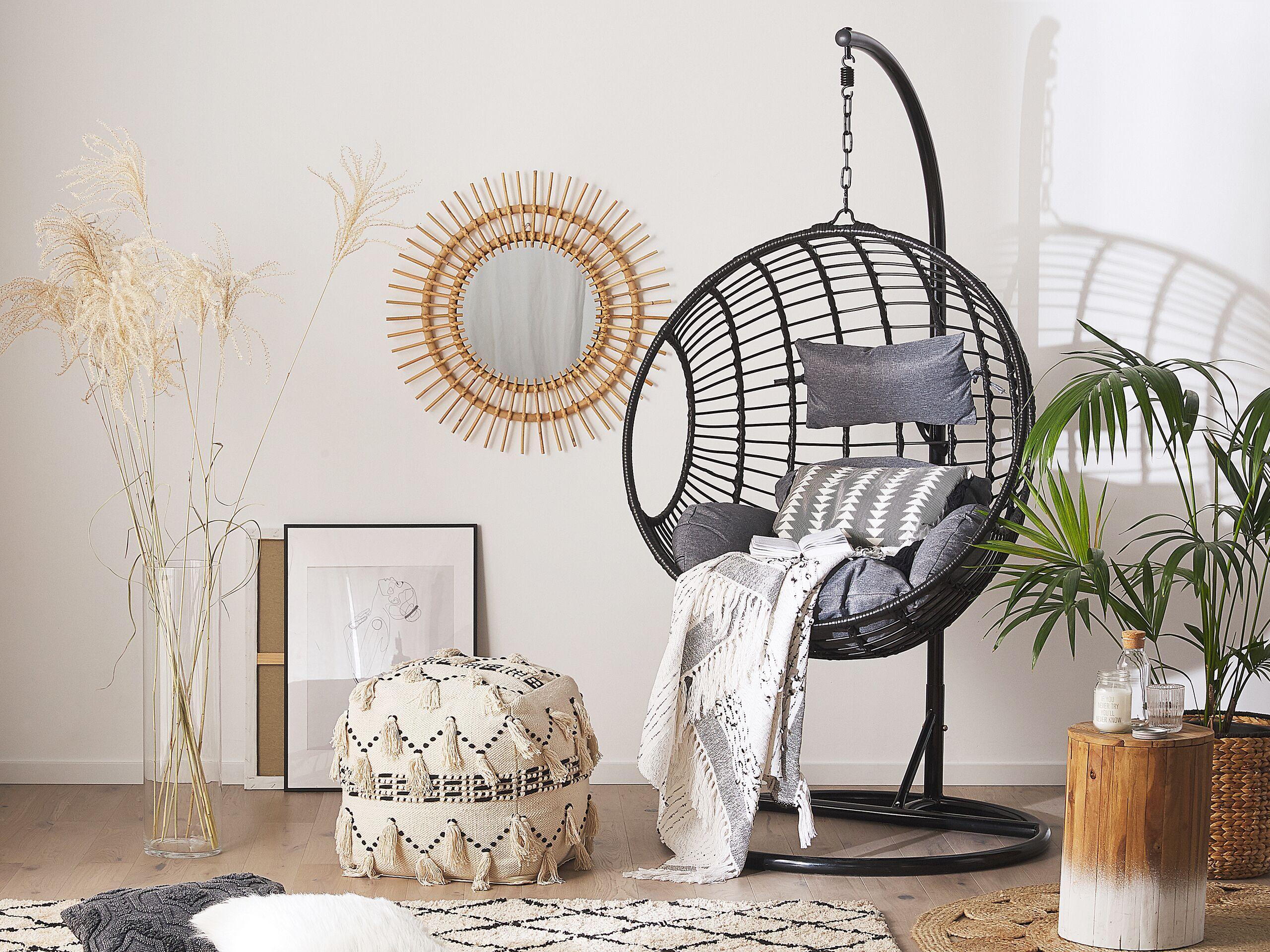 beliani sedia sospesa con cesta rotonda di rattan nero per interno ed esterno