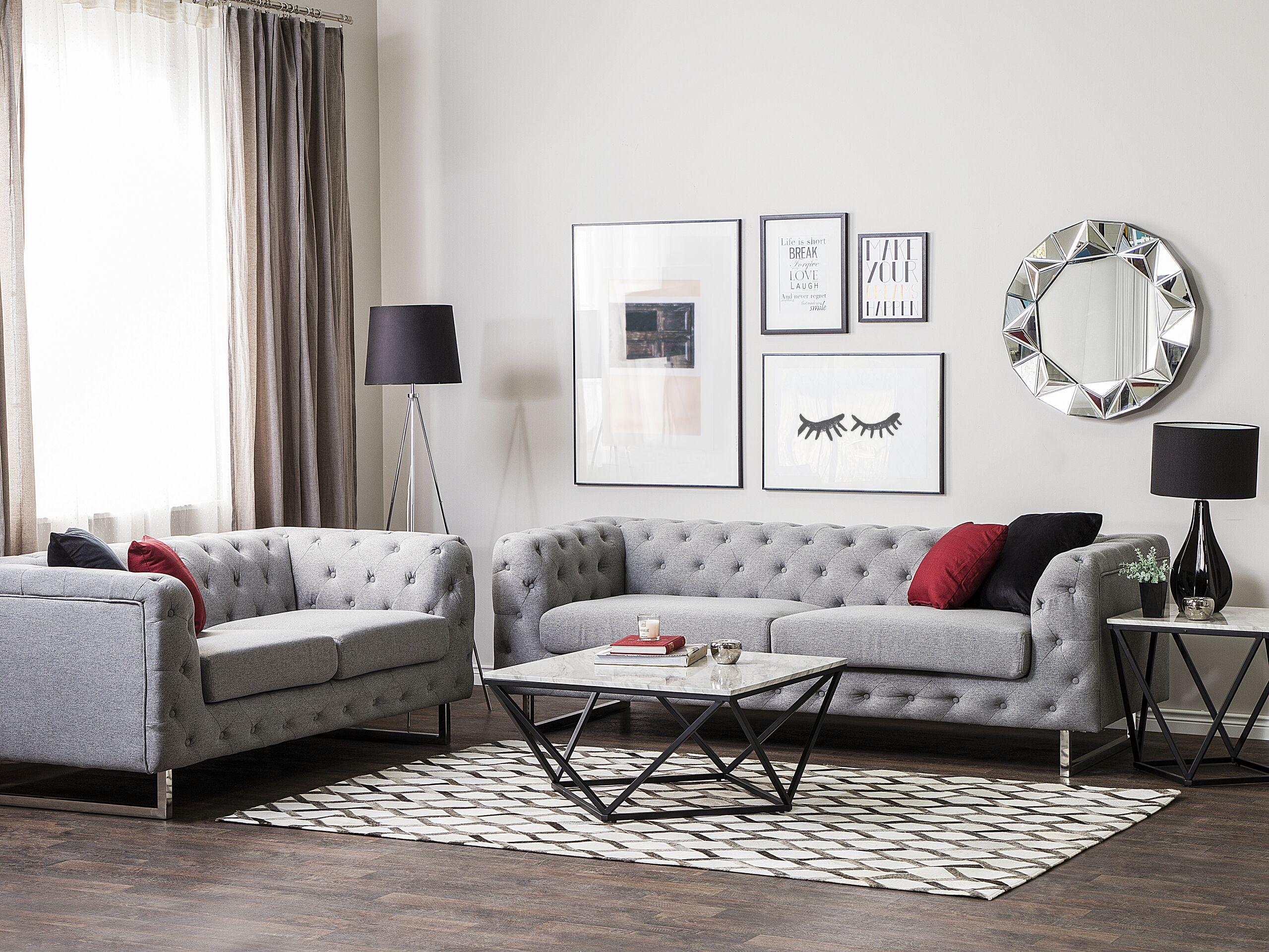 beliani set divani 5 posti colore grigio chiaro