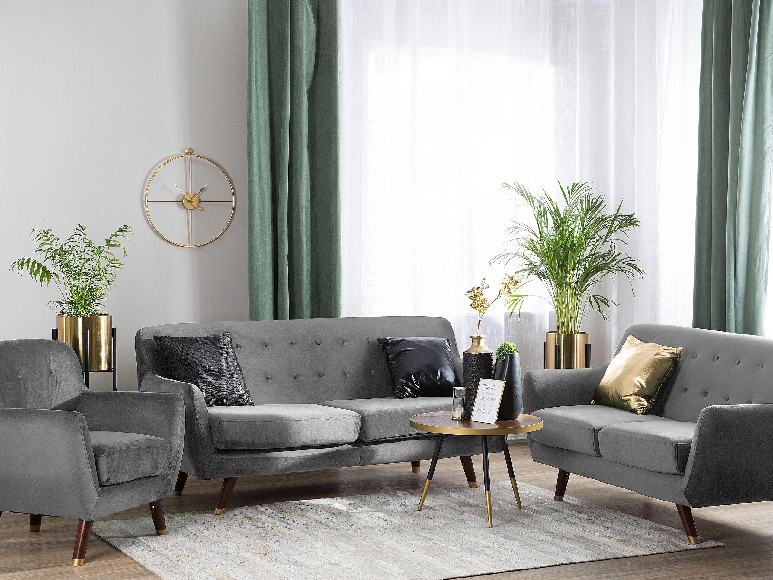 beliani set divani e poltrona 6 posti in velluto grigio