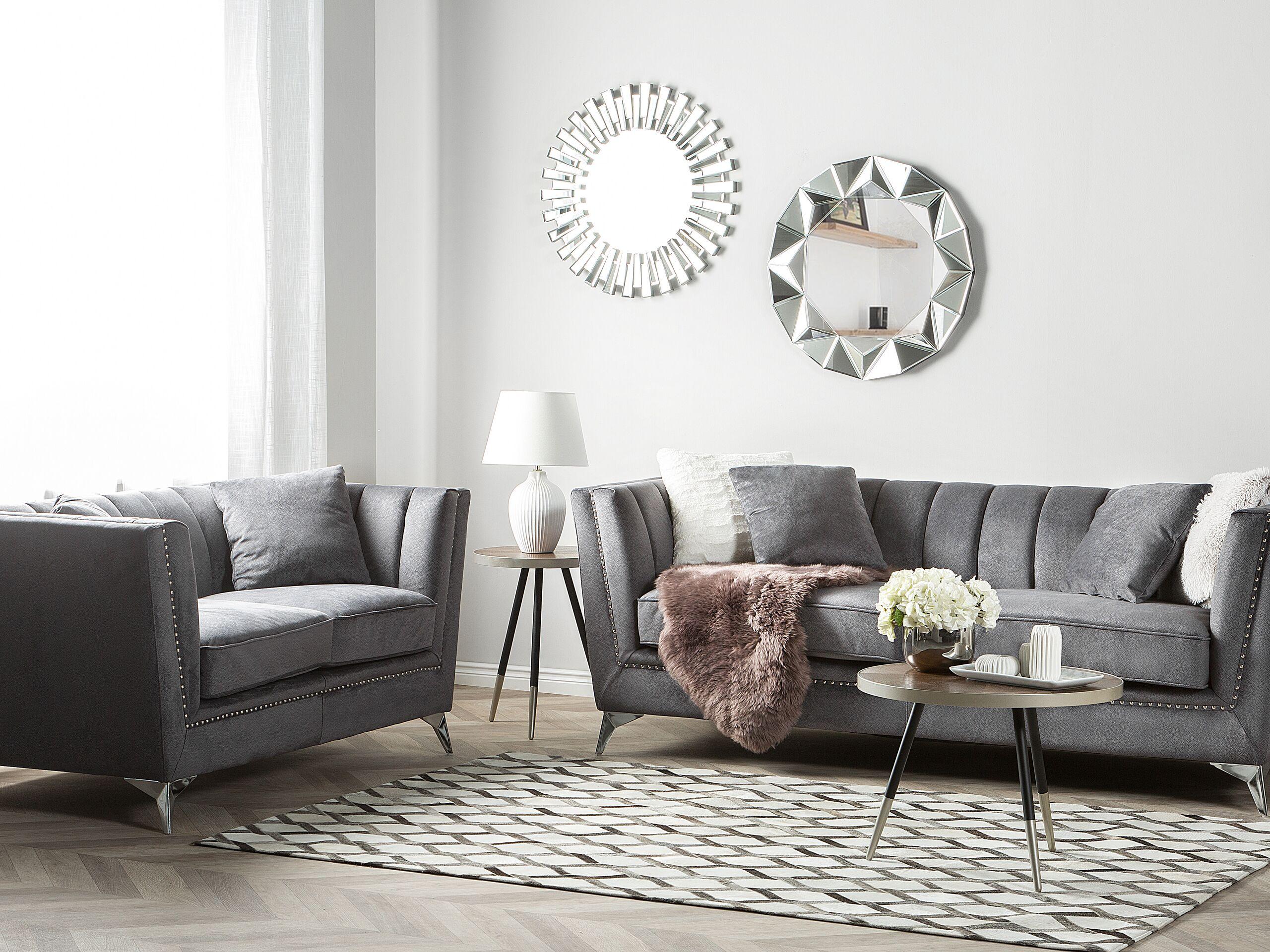 beliani set divani 5 posti in velluto grigio