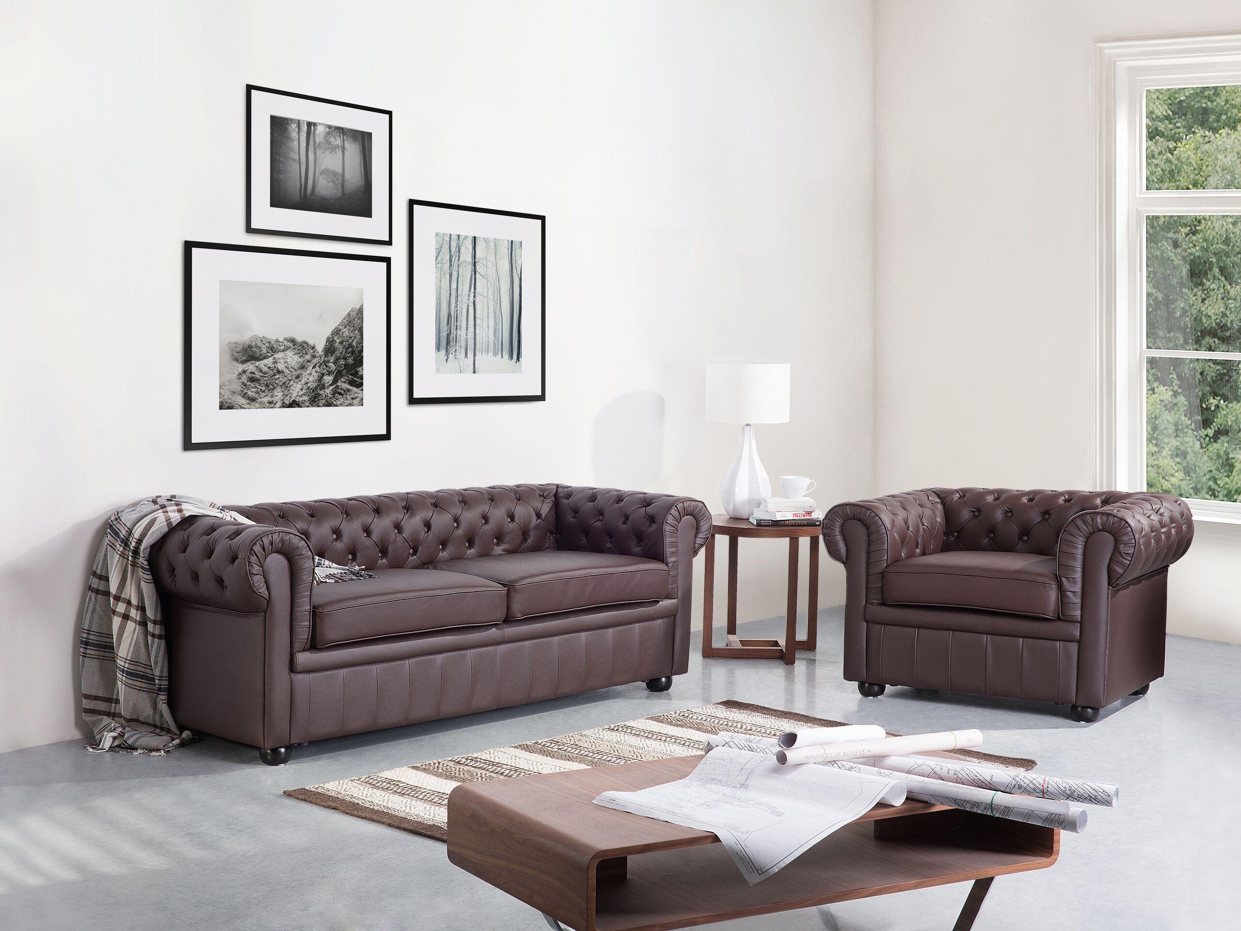 beliani set soggiorno chesterfield in pelle marrone divano a 3 posti + poltrona