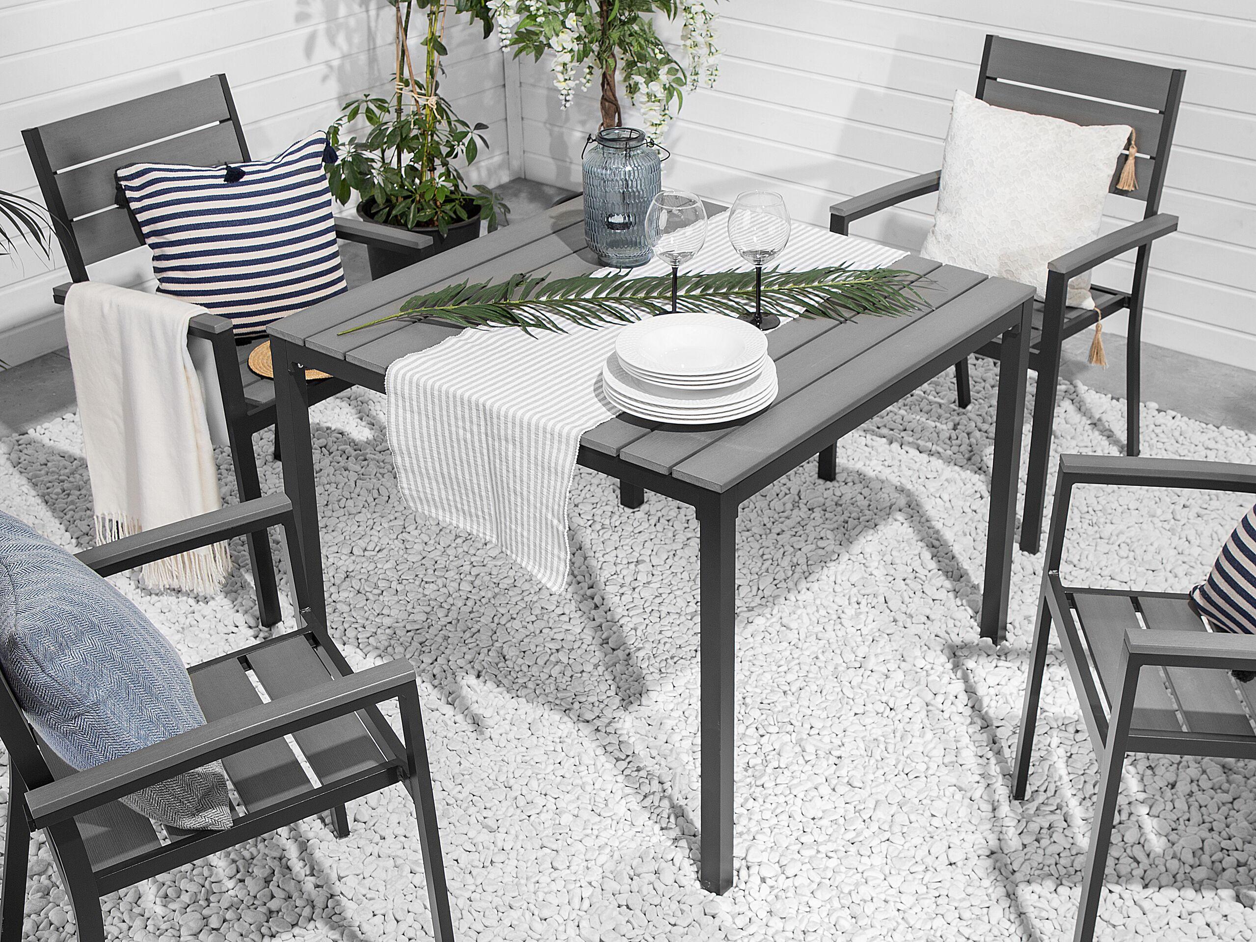 beliani tavolo da giardino in alluminio grigio e nero resistente moderno