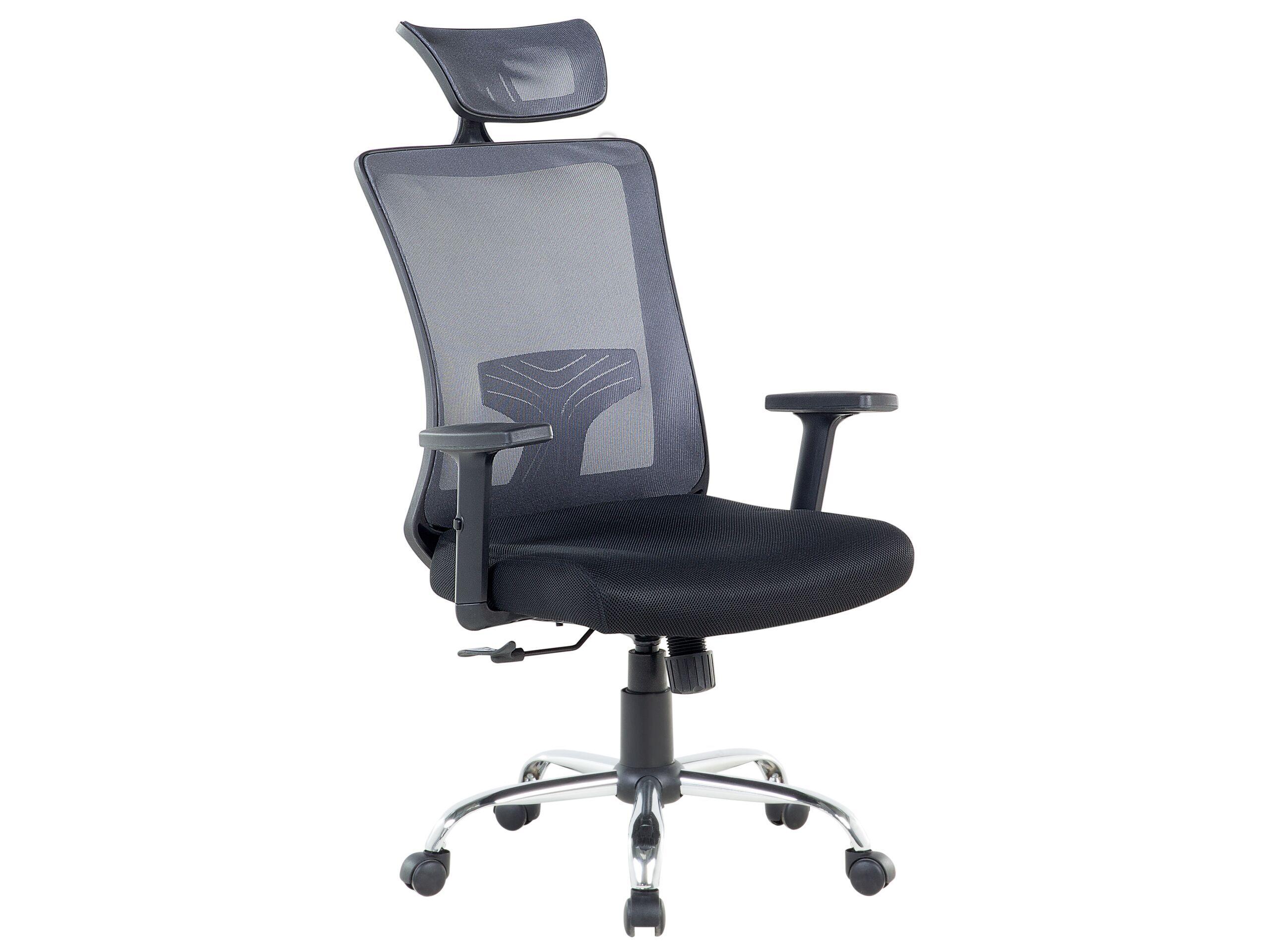 beliani sedia da ufficio tessuto grigio e nero girevole inclinazione regolabile