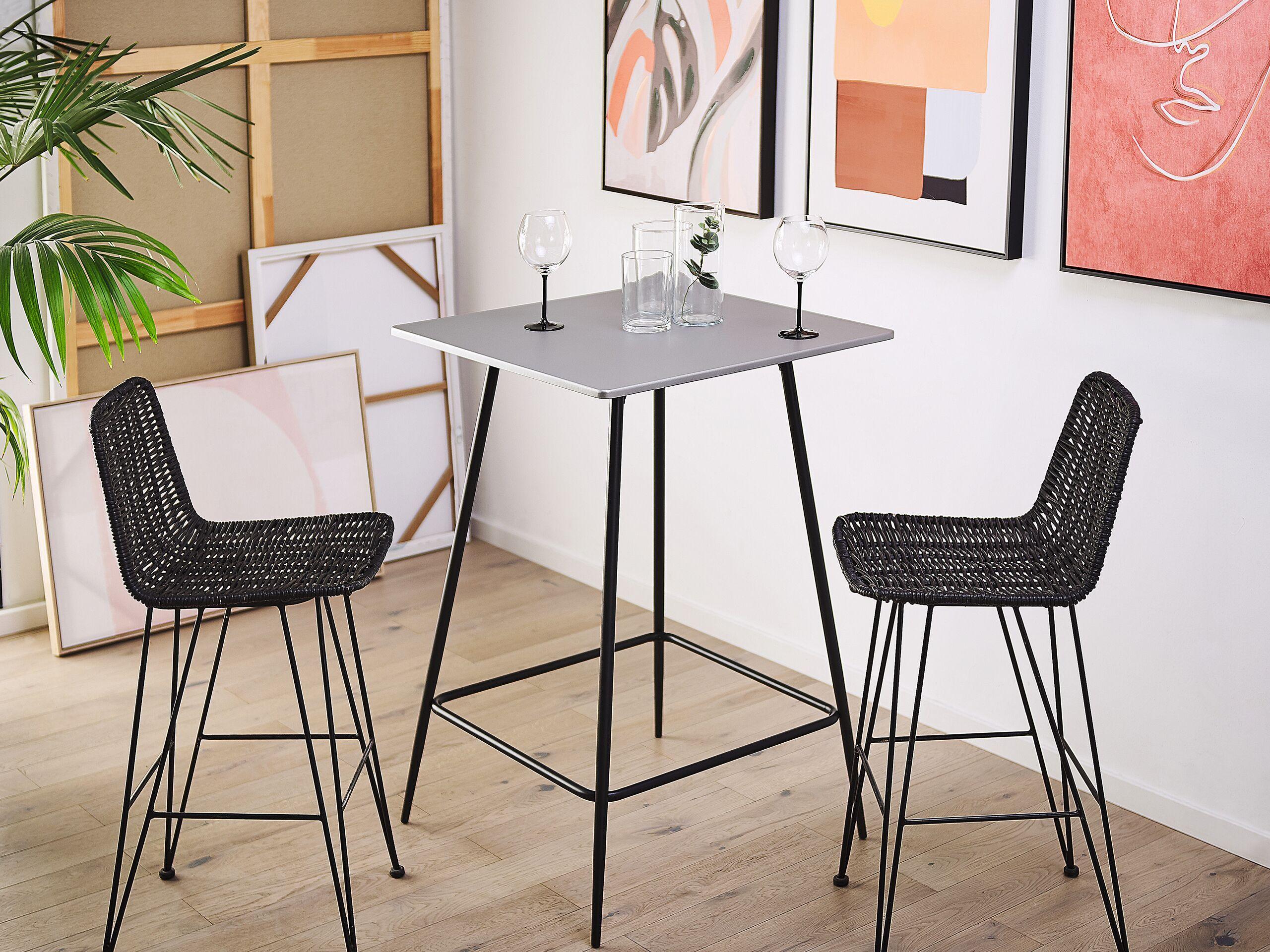 beliani tavolo da bar quadrato piano grigio gambe in acciaio nero 70 x 70 cm