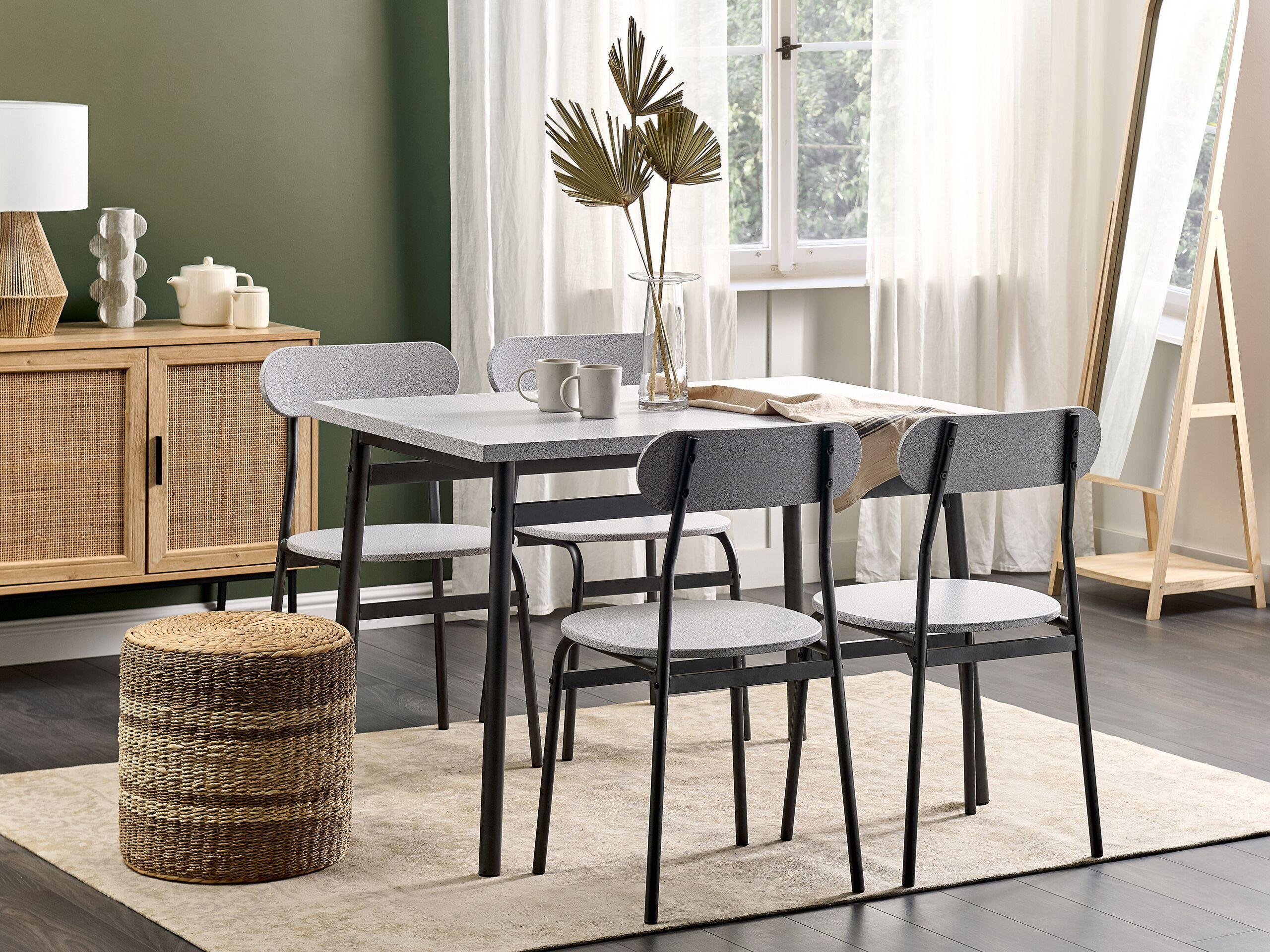 beliani set da pranzo in acciaio grigio e nero piano mdf effetto legno 4 sedie