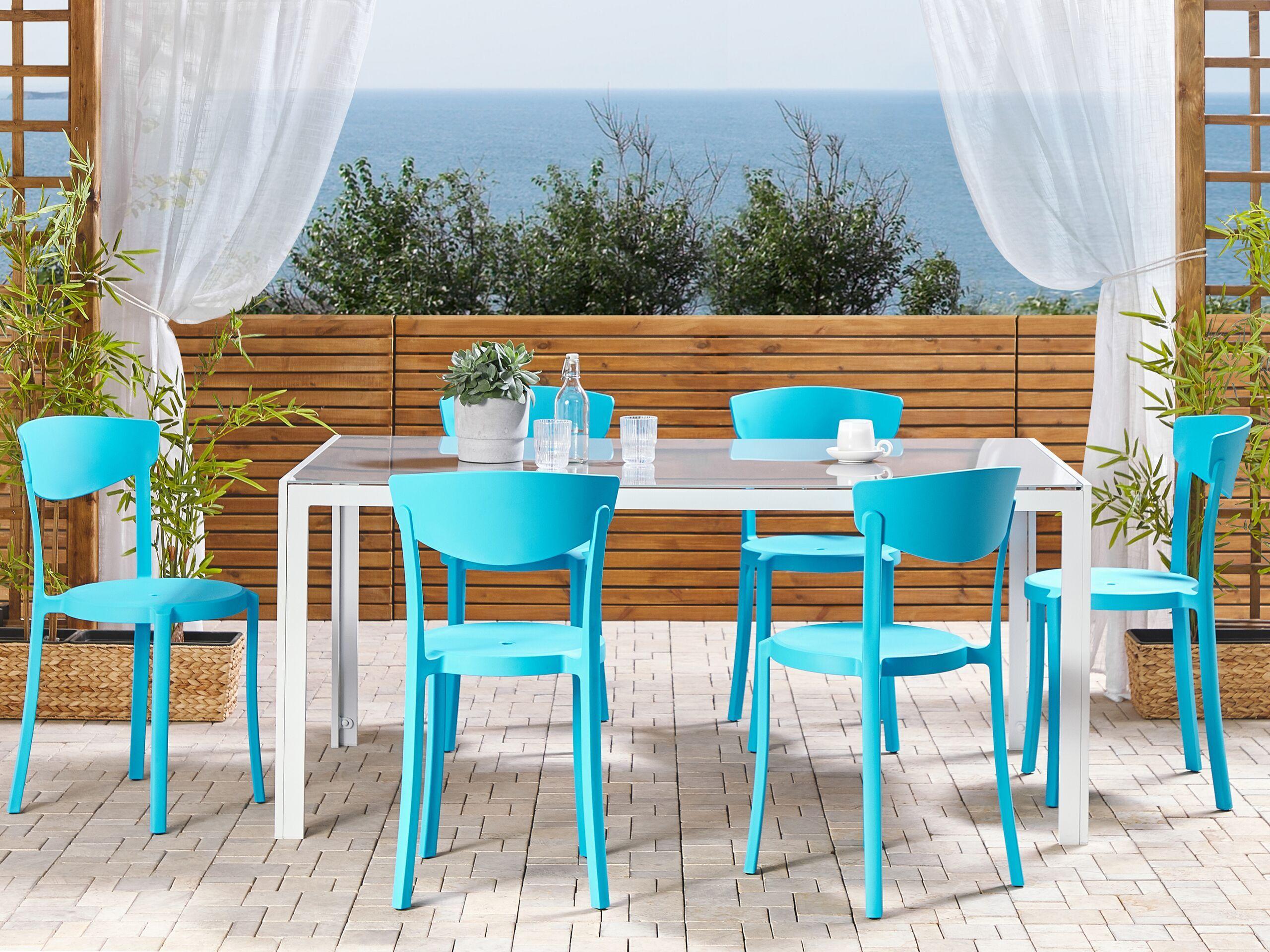 beliani set di 6 sedie moderne da esterno e interno in plastica blu