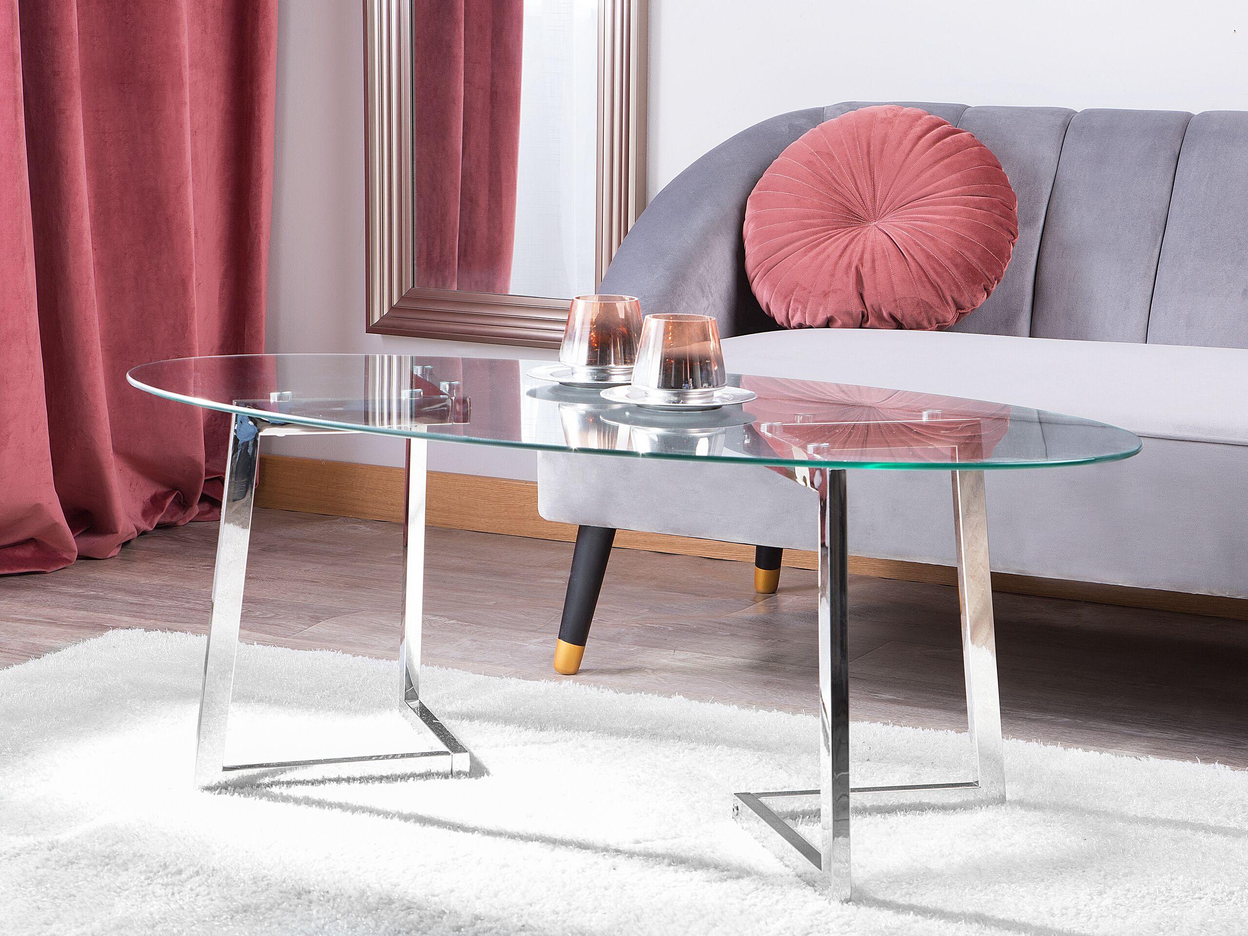 beliani tavolino da salotto in vetro con gambe argentate in metallo 120 x 60 cm
