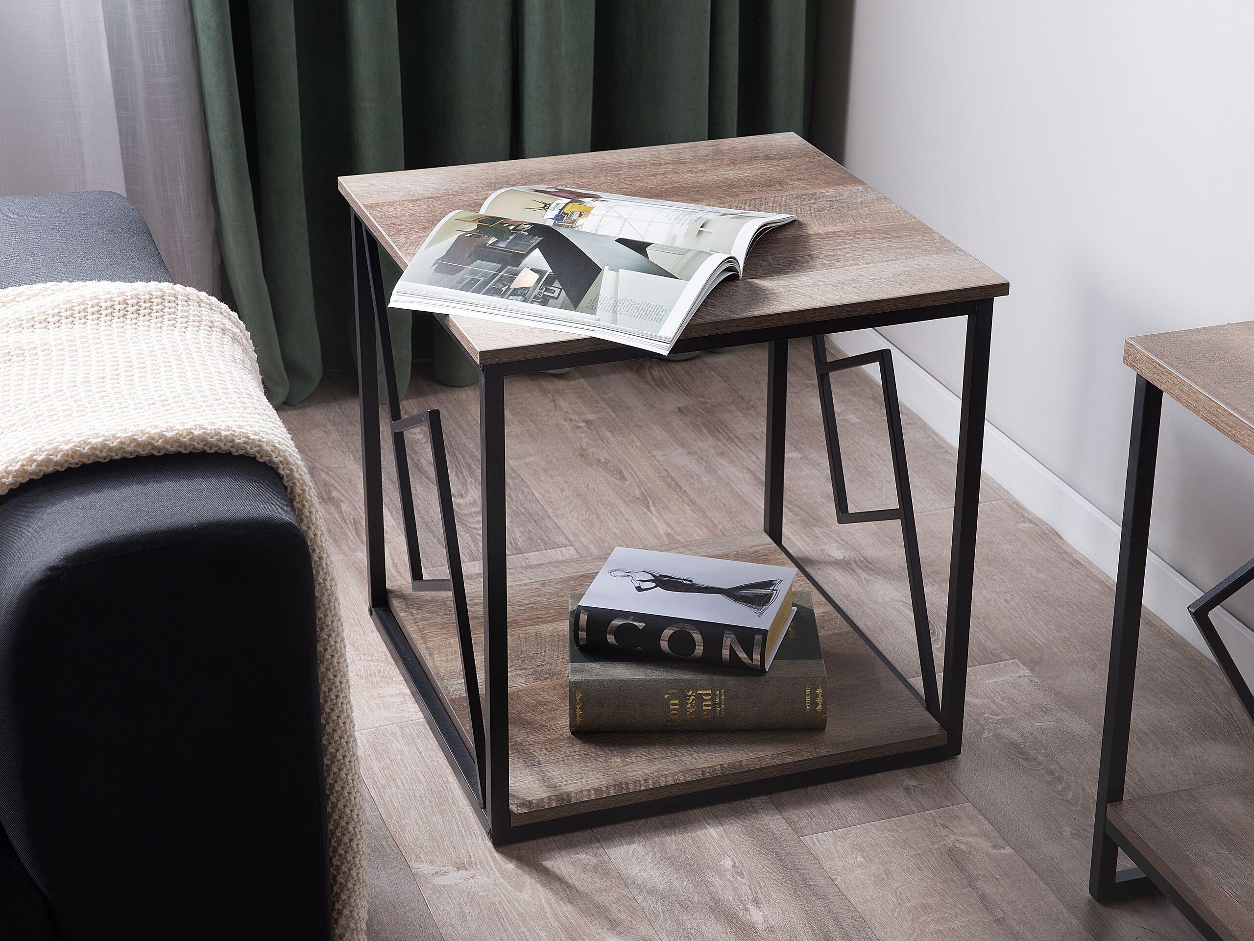 beliani tavolino da salotto piano legno scuro struttura metallo nero 56 x 56 cm