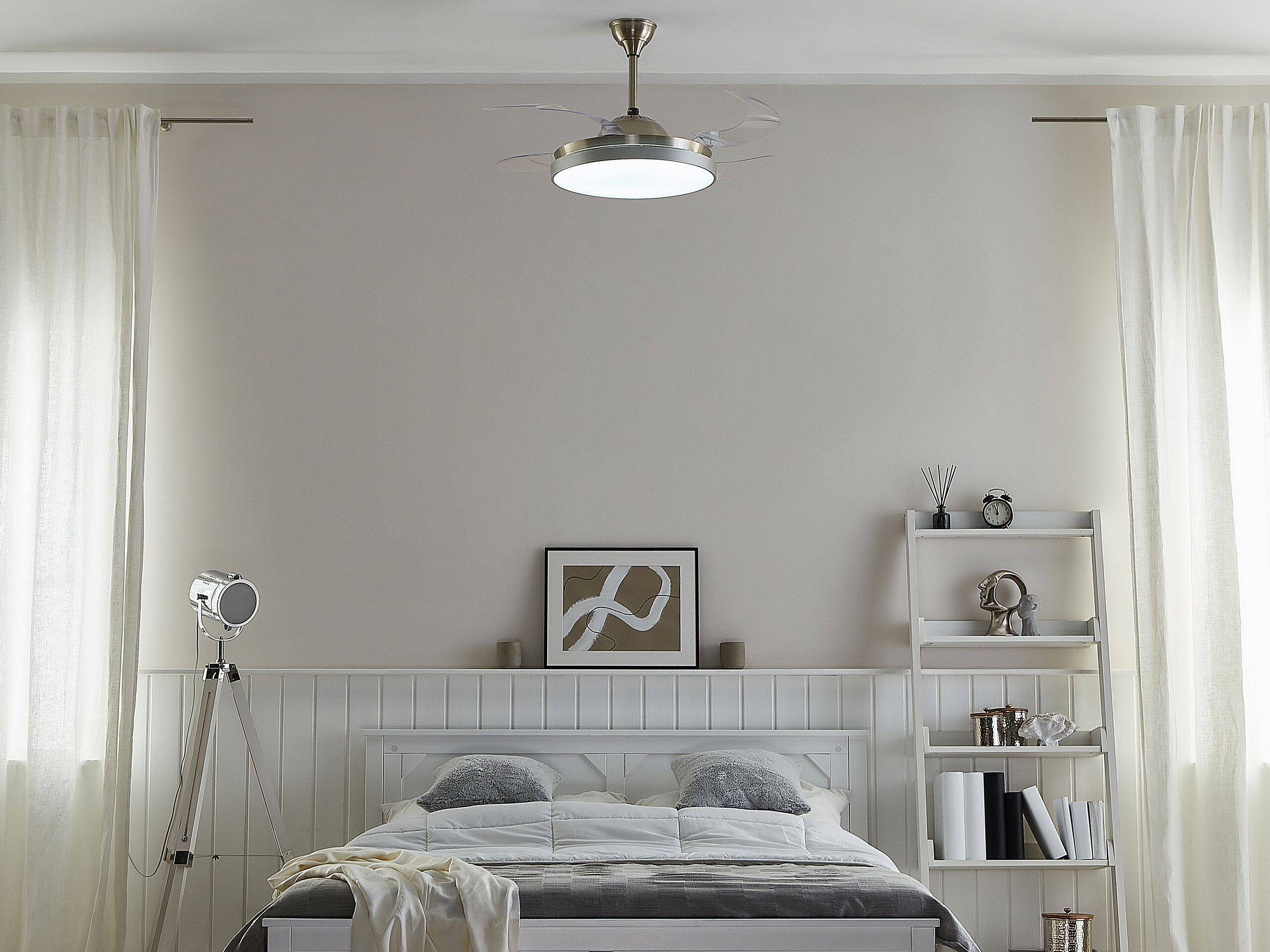 beliani ventilatore da soffitto metallo argento pale trasparenti e telecomando