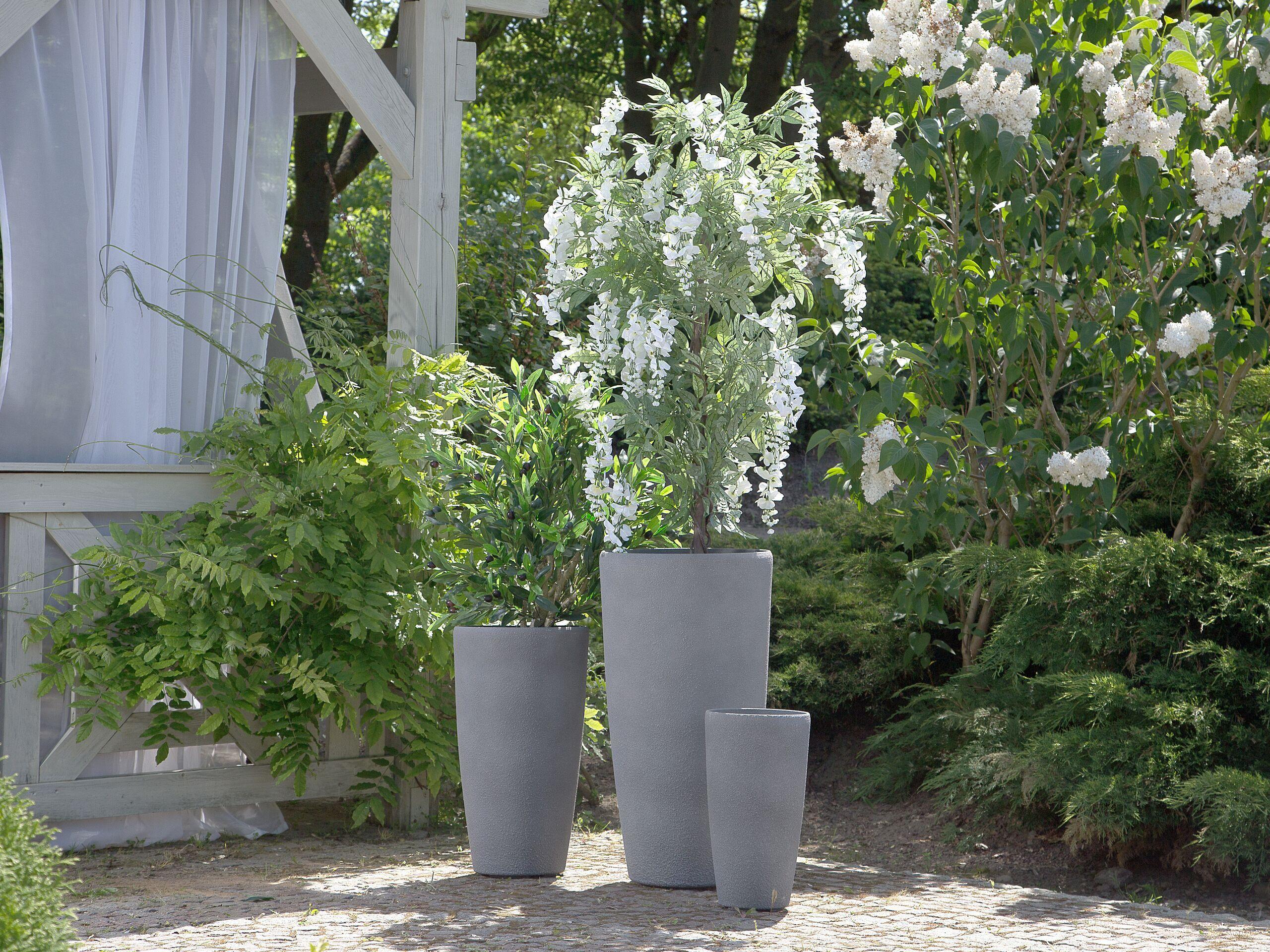 beliani set 3 vasi per piante in simil pietra grigia varie dimensioni resistenti