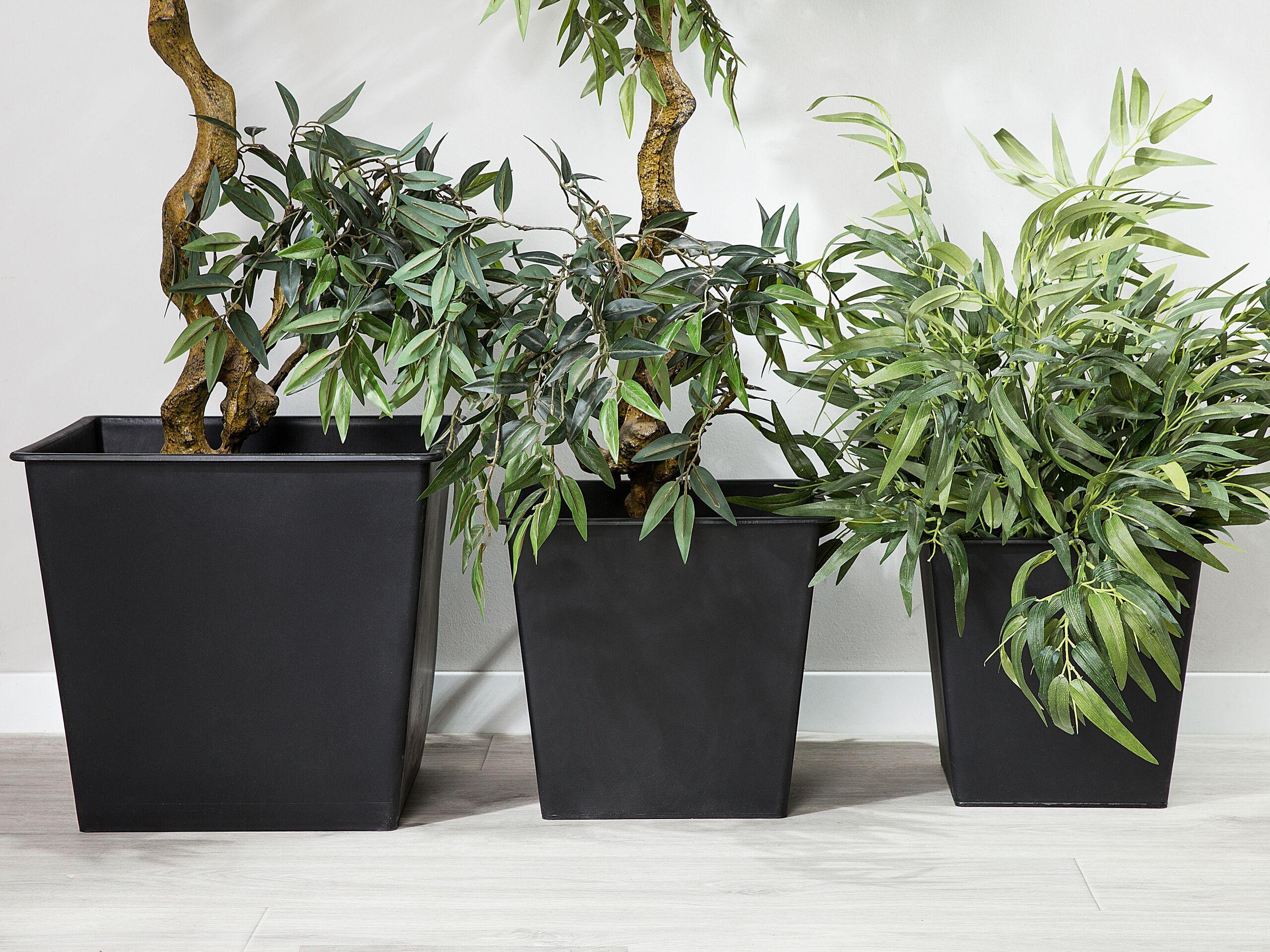 beliani set di 3 inserti protettivi per vasi con irrigazione 42 x 42 x 38 cm