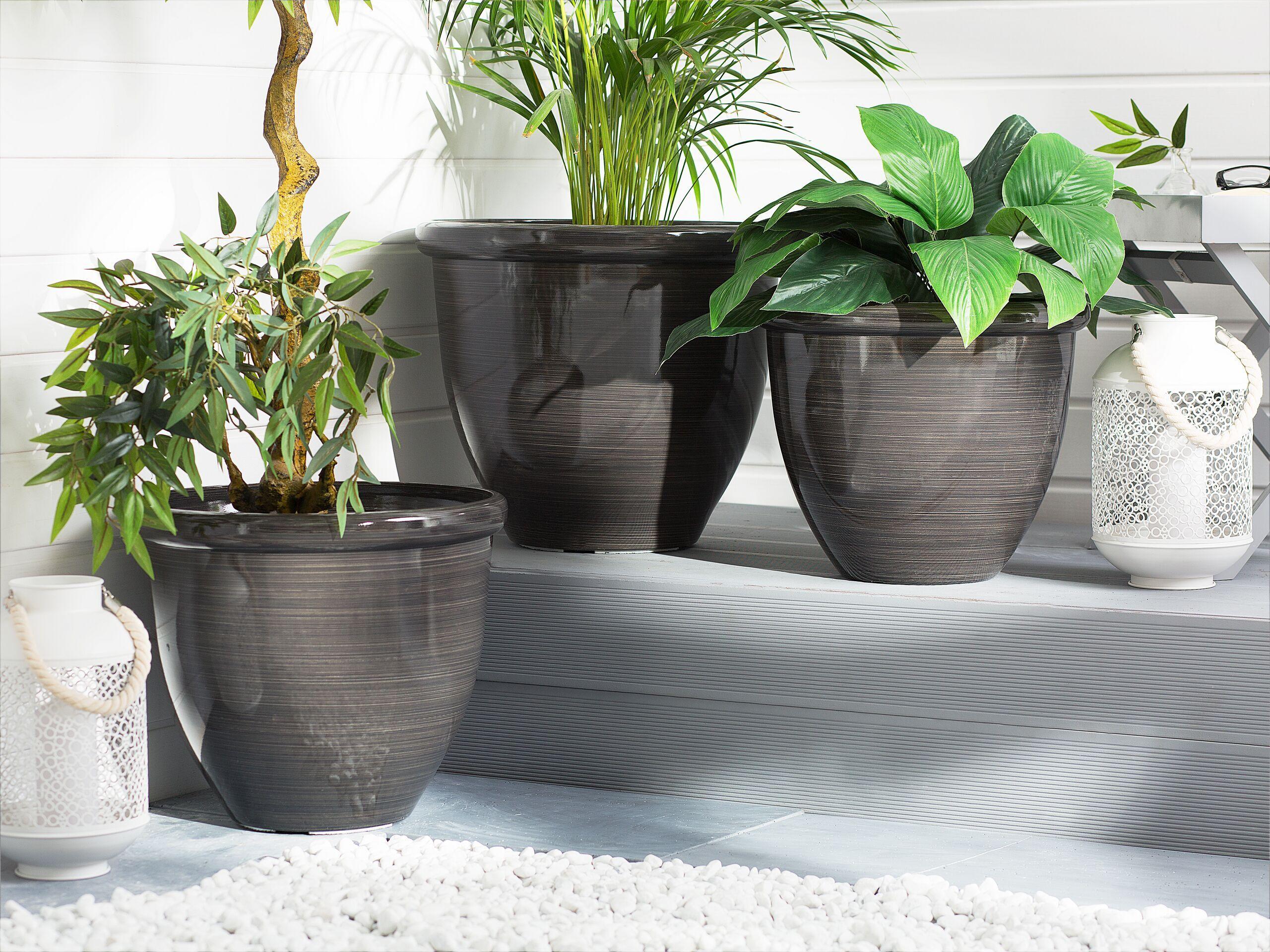 beliani set 3 vasi da fiori rotondi marroni miscela di fibre di argilla di vetro