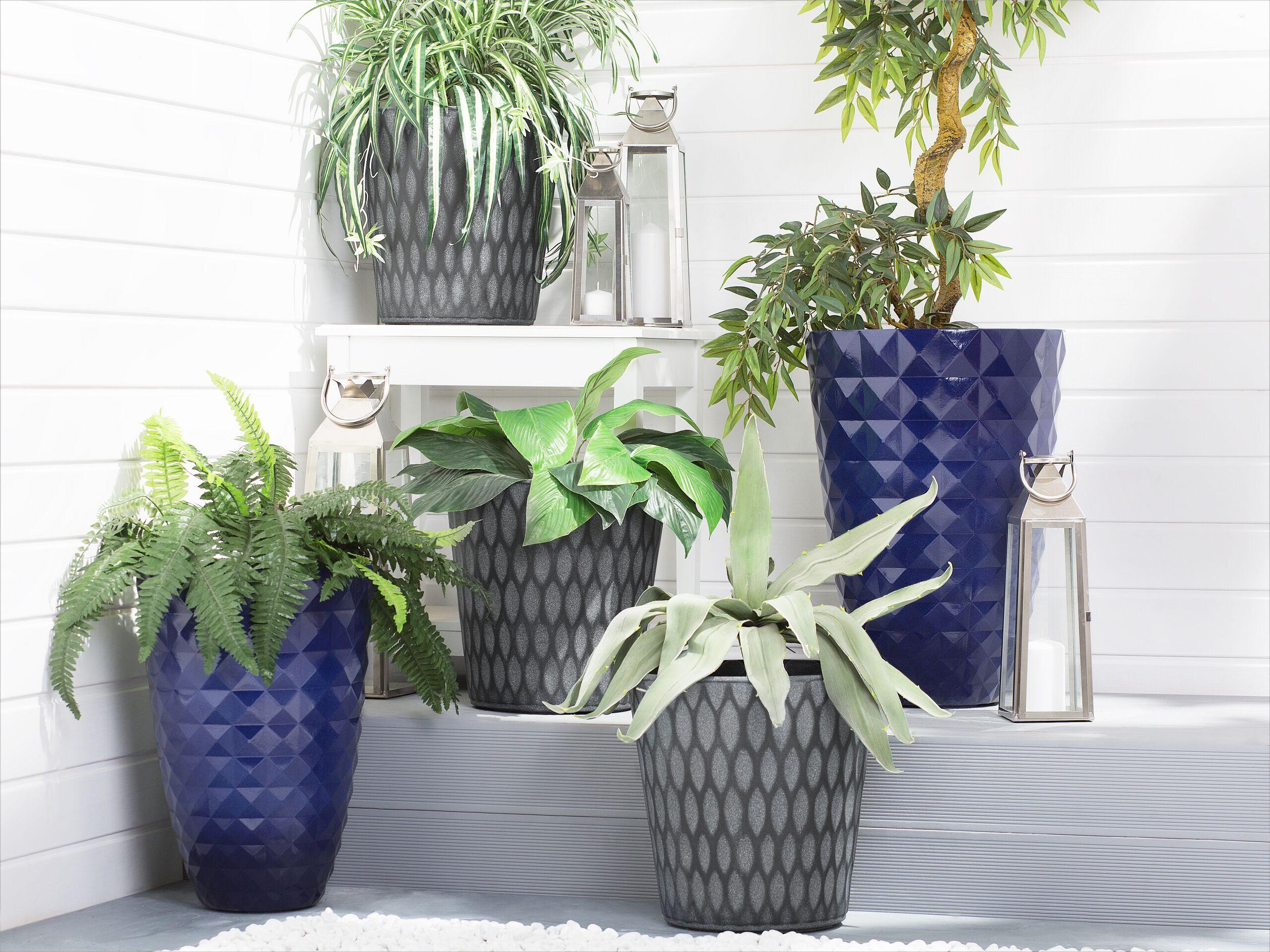 beliani set di 2 vasi per piante rotondi in argilla blu navy design moderno
