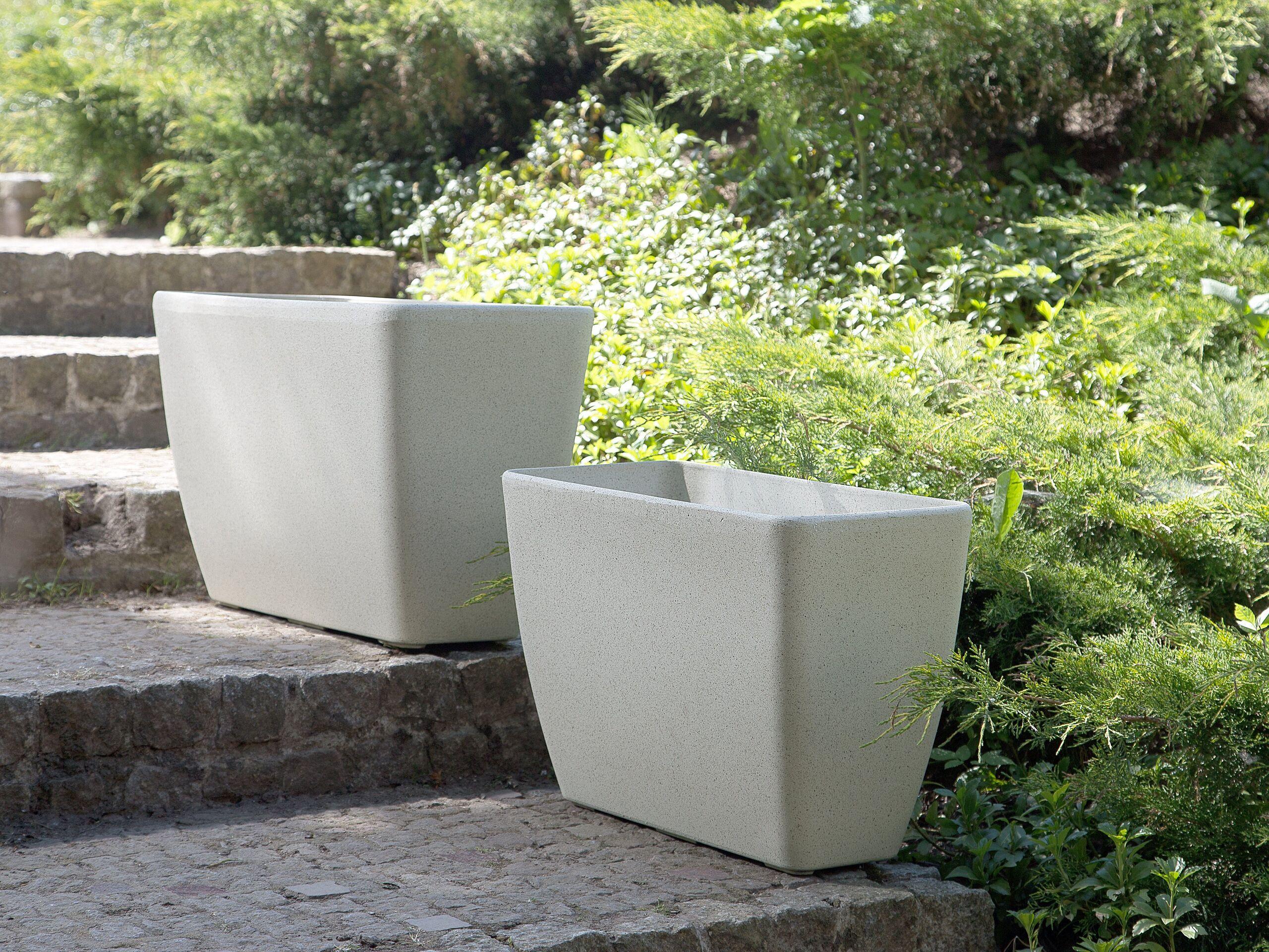 beliani set di 2 vasi per piante in simil pietra beige rettangolari varie misure