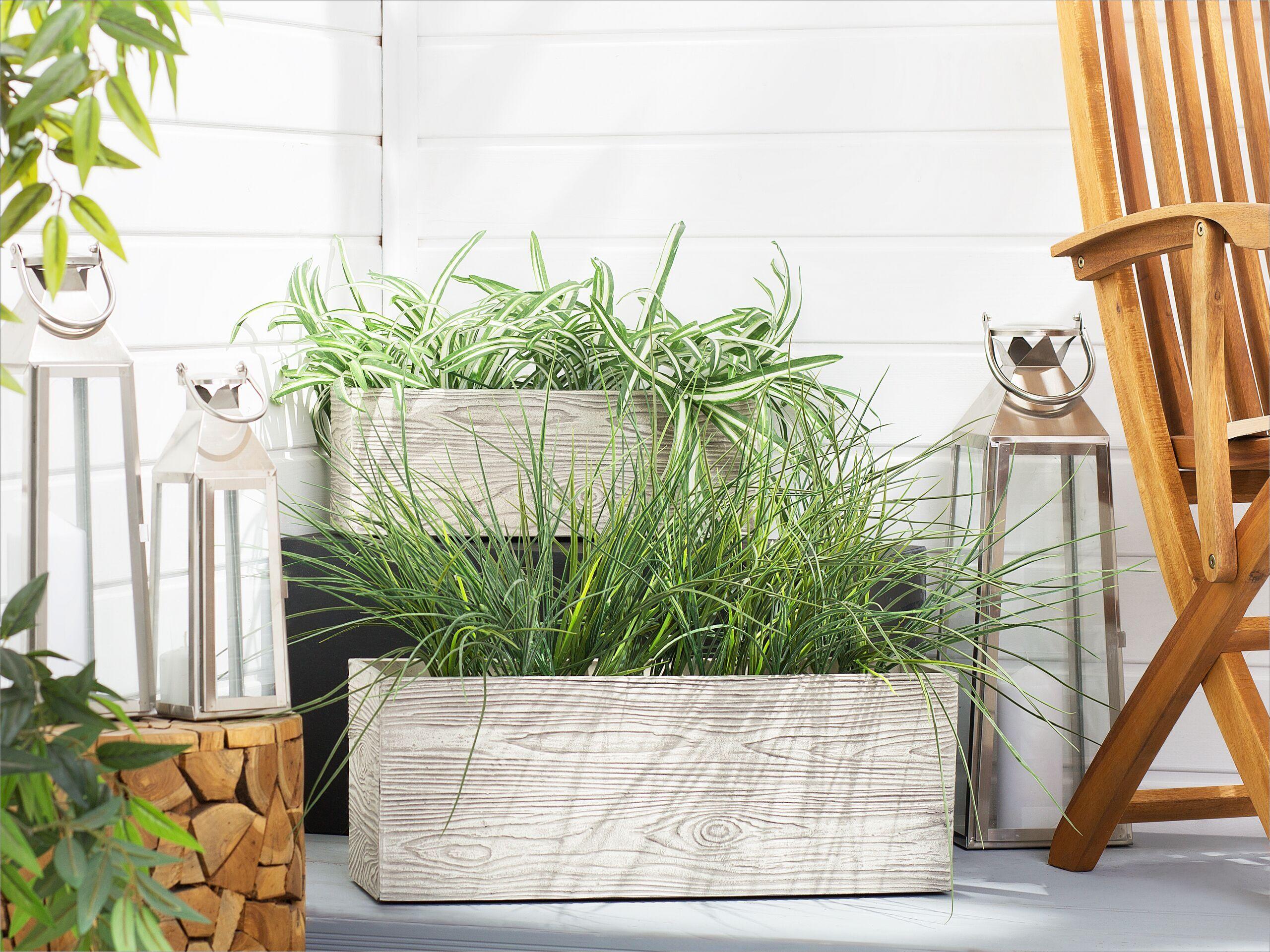 beliani set di 2 vasi da fiori rettangolari bianchi effetto legno moderni