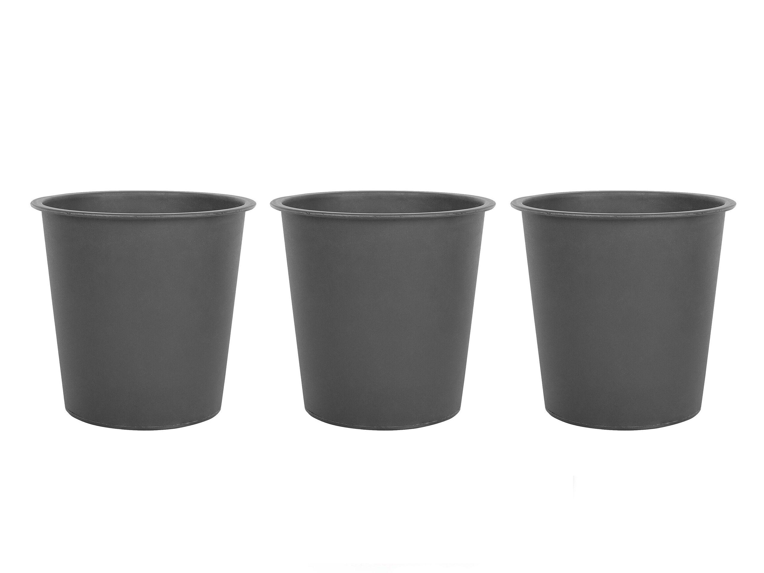 beliani set 3 inserti di plastica nera rotondi per vasi da fiori ⌀ 26 cm