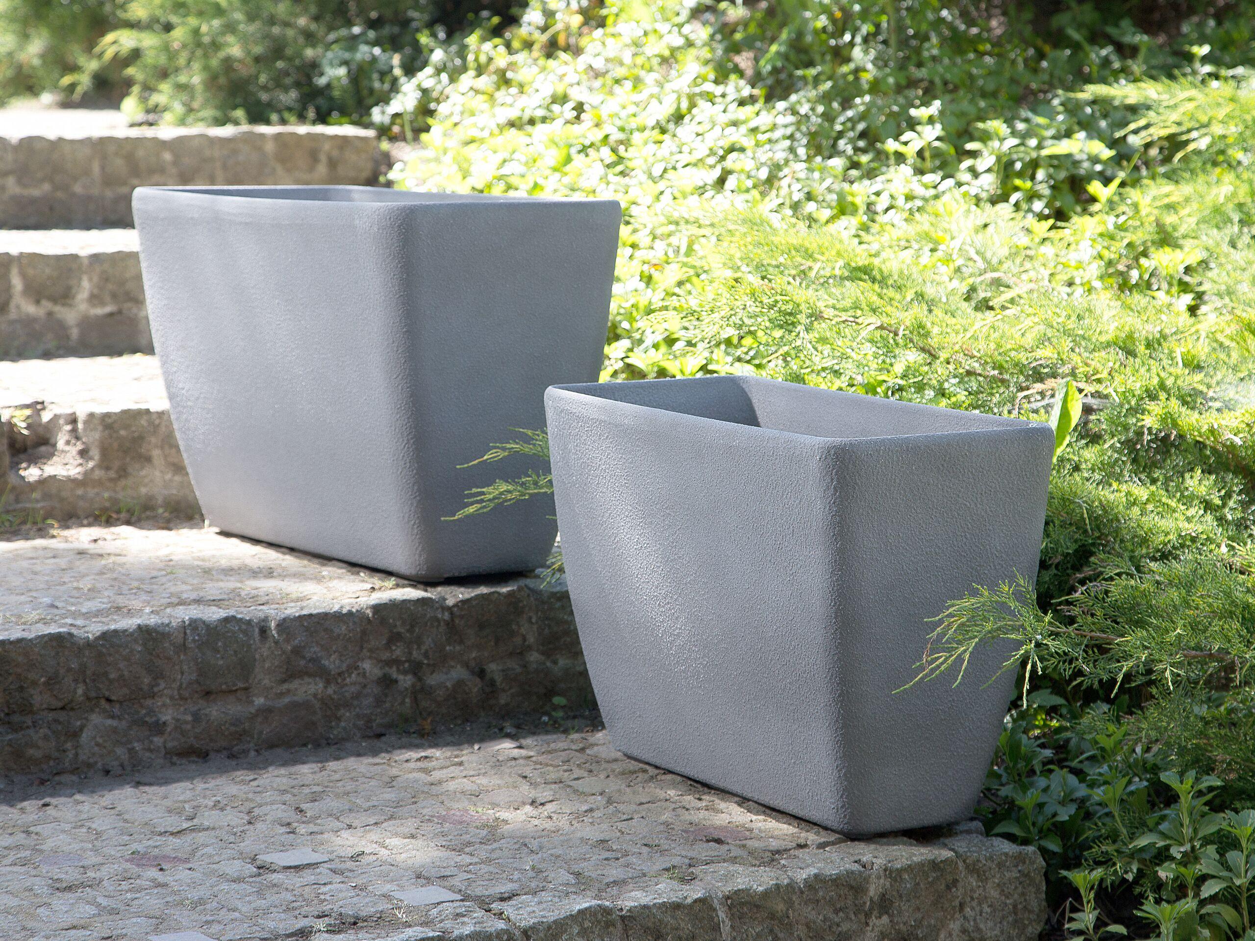 beliani set di 2 vasi per piante in simil pietra grigia rettangolari varie misure