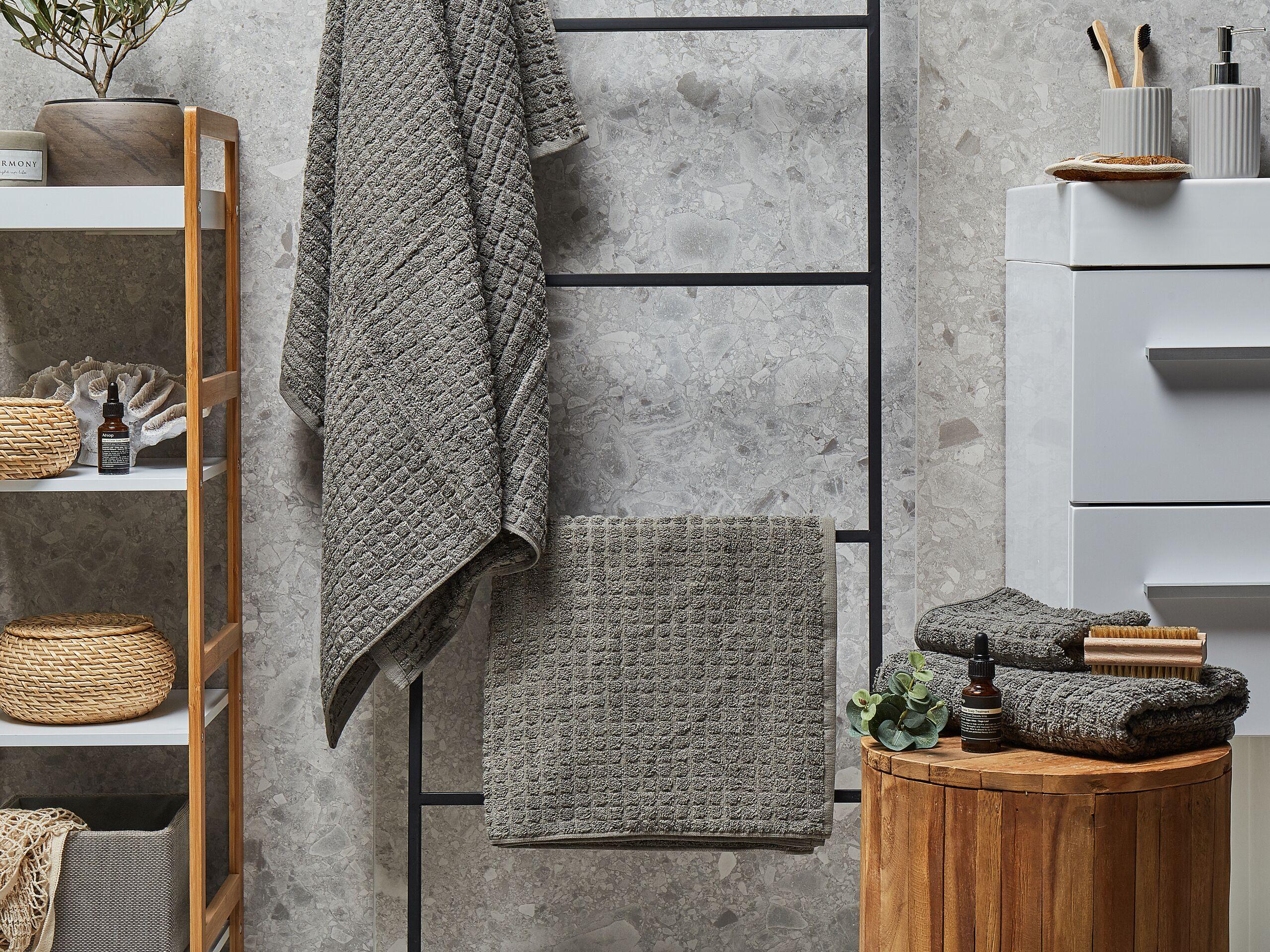 beliani set di 4 asciugamani grigi da bagno in morbido cotone low twist accessori bagno