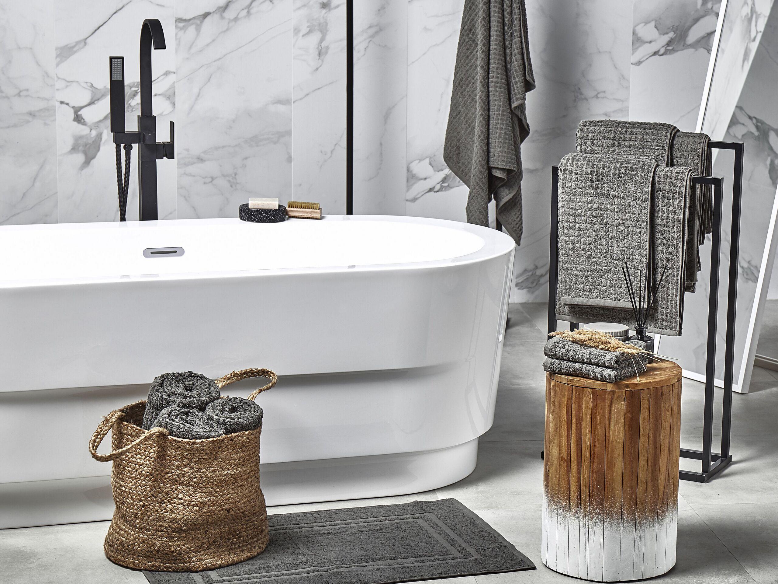 beliani set di 11 asciugamani grigi da bagno in morbido cotone low twist accessori bagno