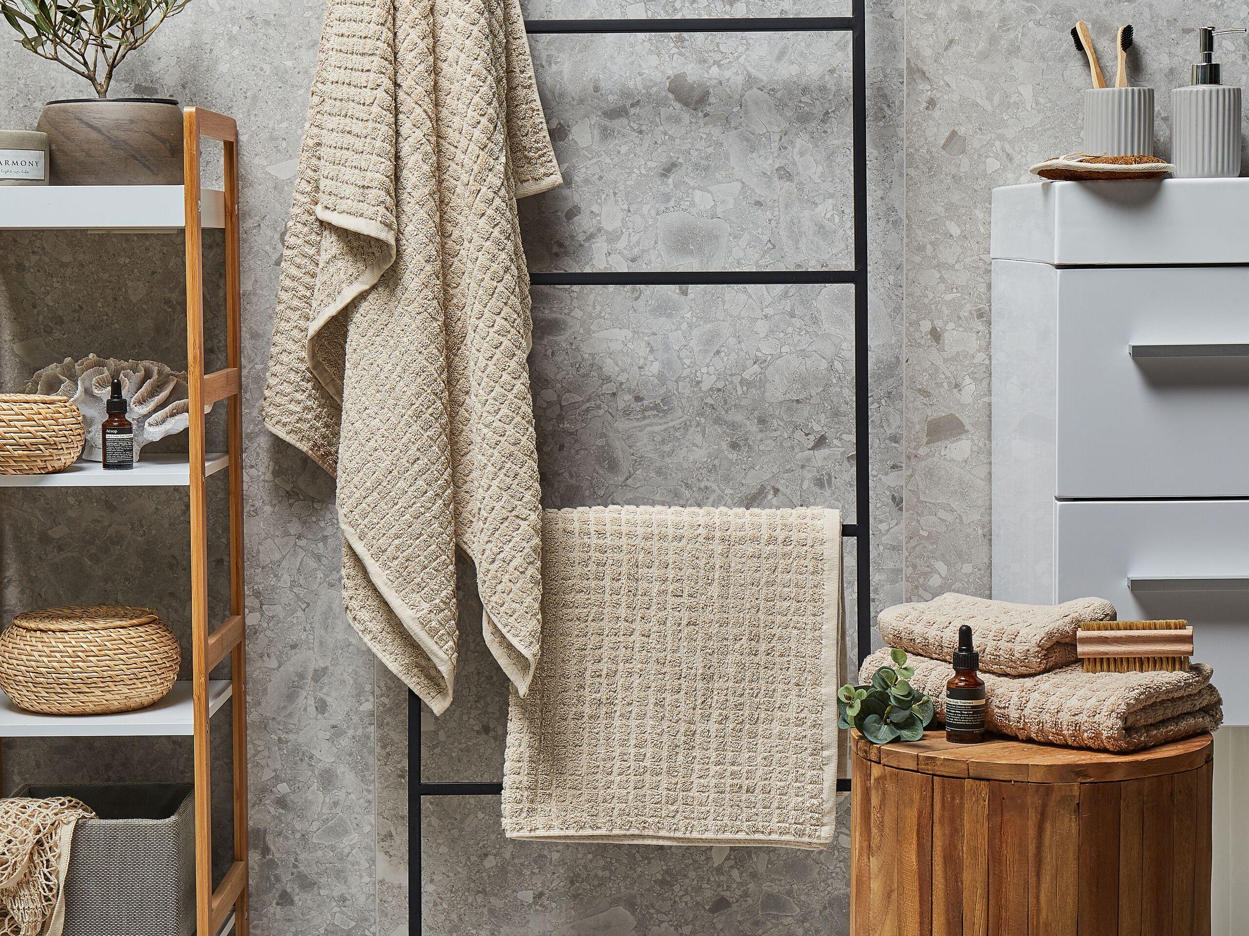 beliani set di 4 asciugamani beige da bagno in morbido cotone low twist accessori bagno