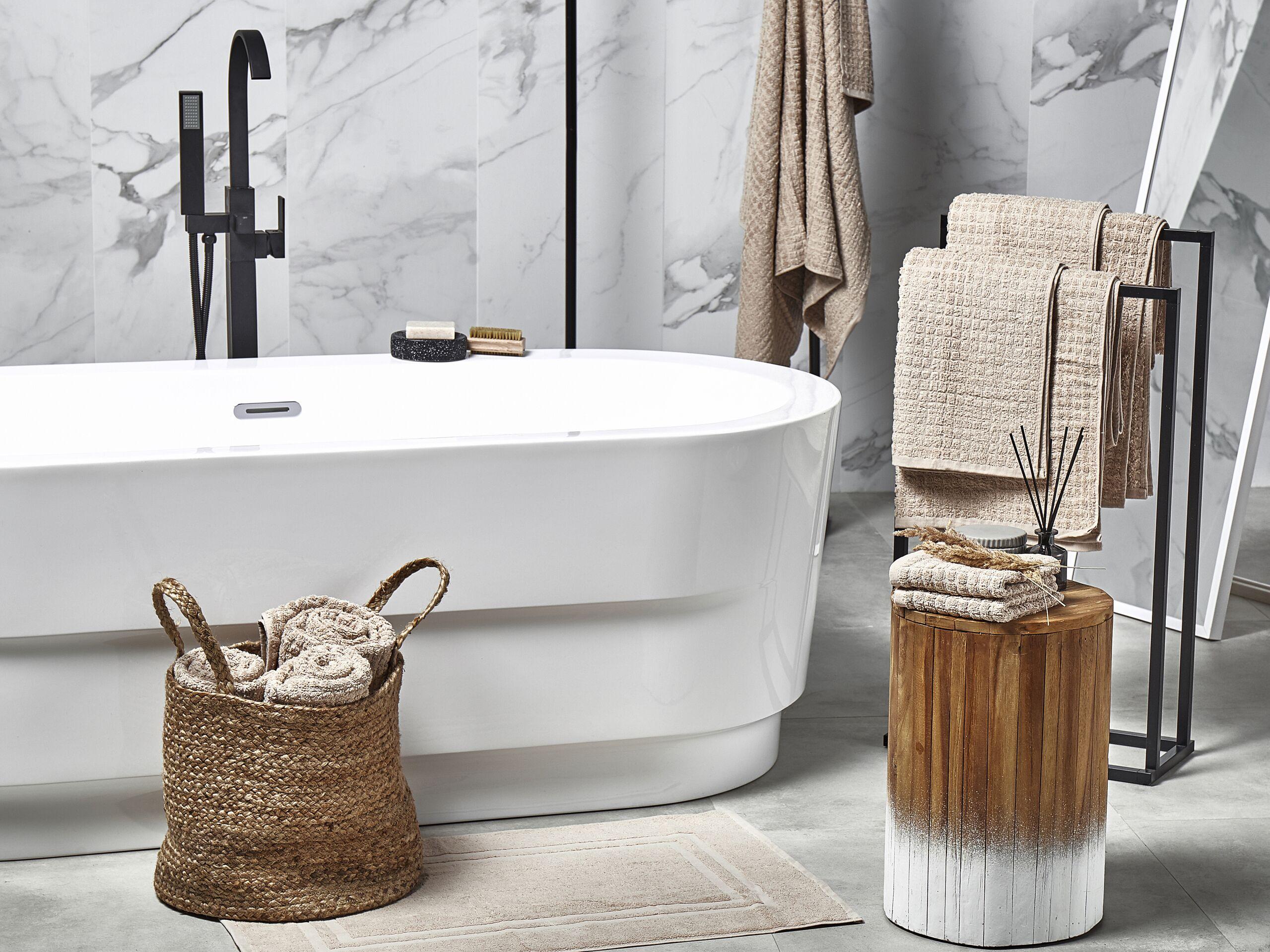 beliani set di 11 asciugamani beige da bagno in morbido cotone low twist accessori bagno
