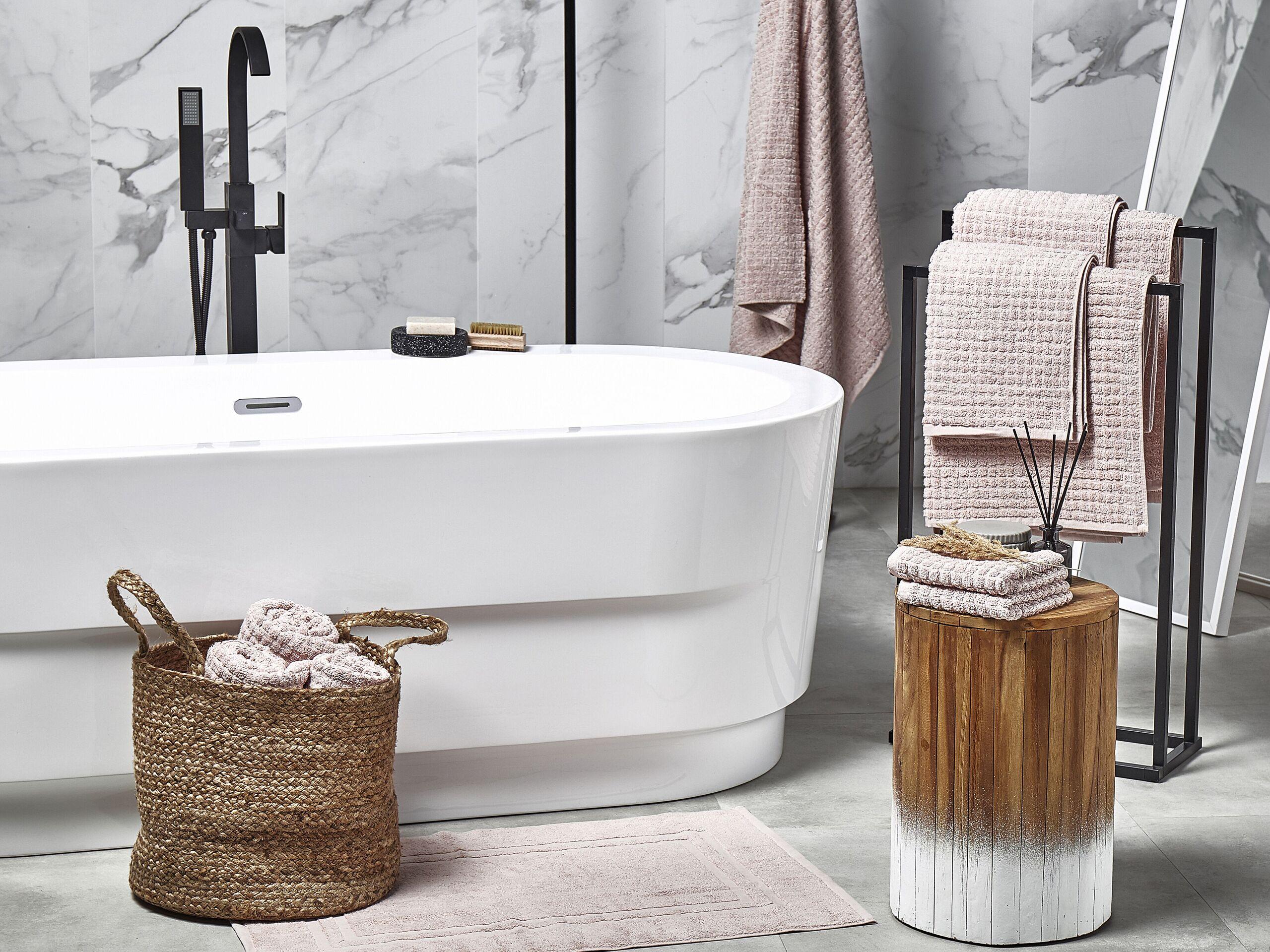 beliani set di 11 asciugamani rosa da bagno in morbido cotone low twist accessori bagno