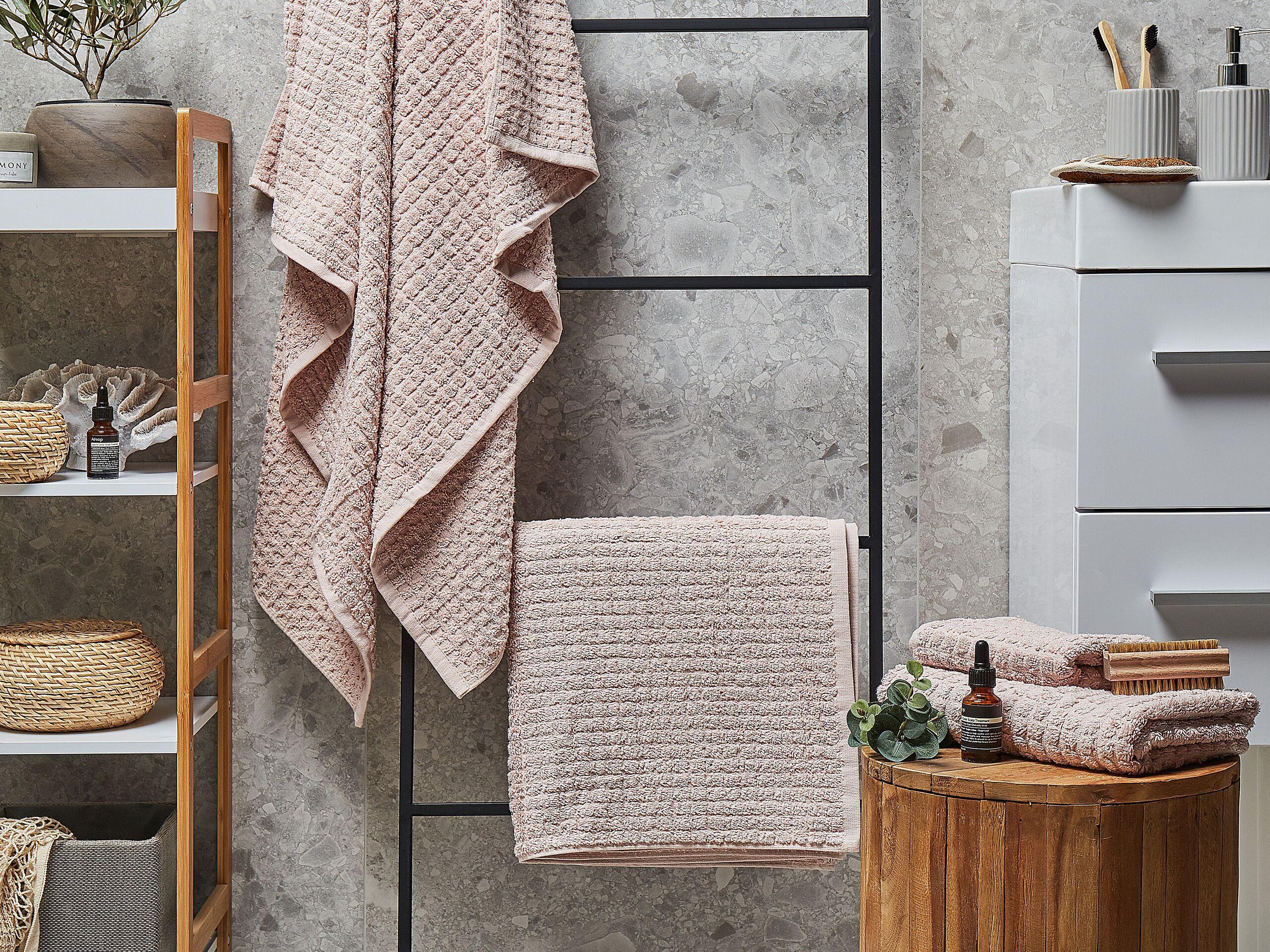 beliani set di 4 asciugamani rosa da bagno in morbido cotone low twist accessori bagno