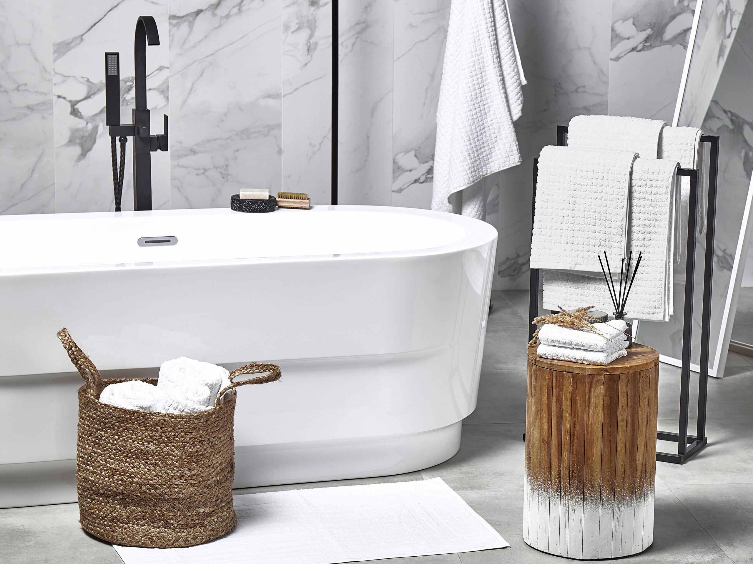 beliani set di 11 asciugamani bianco da bagno in morbido cotone low twist accessori bag