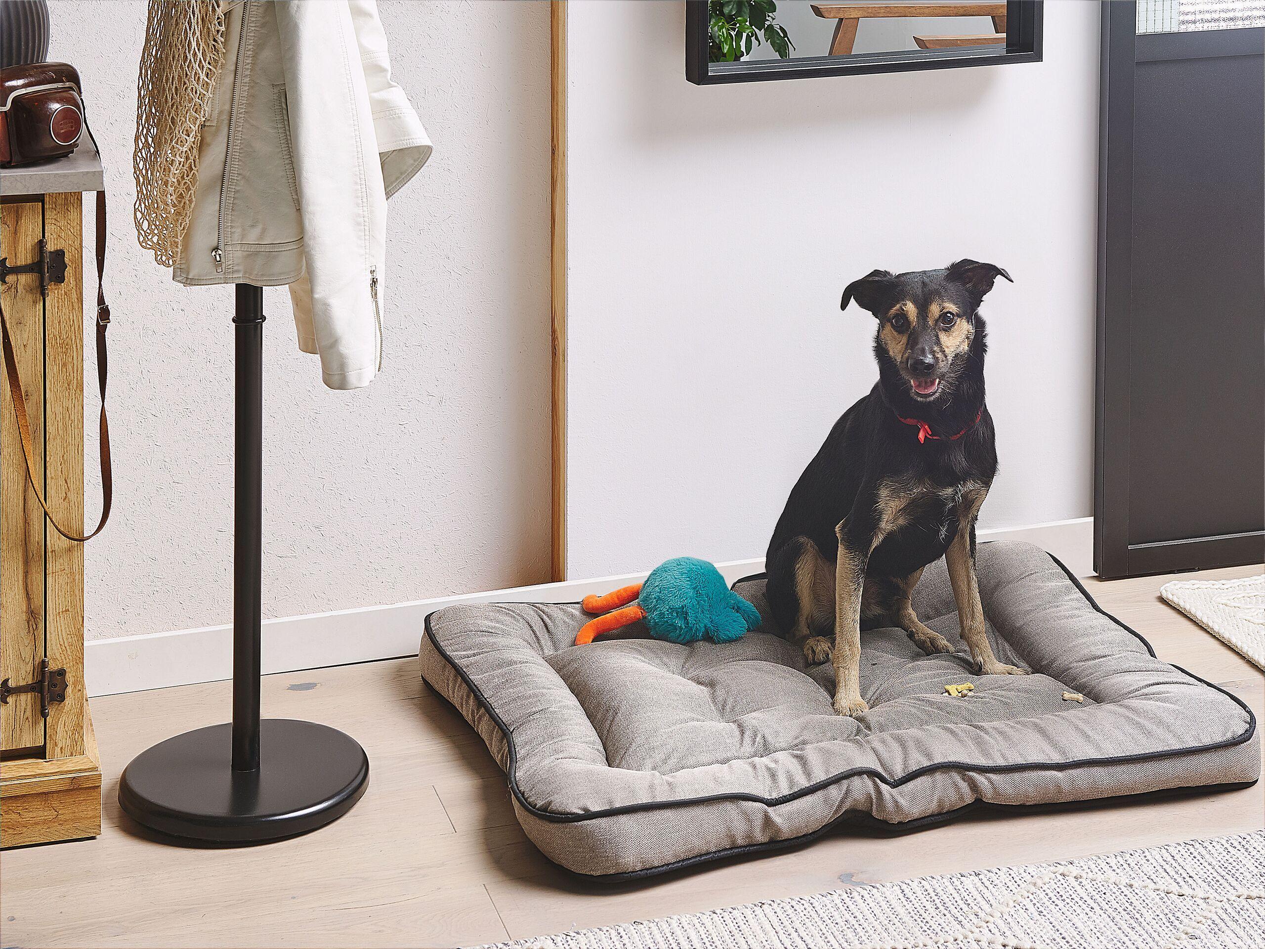 beliani cuccia cuscino imbottito per cani in tessuto grigio 90 x 70 cm