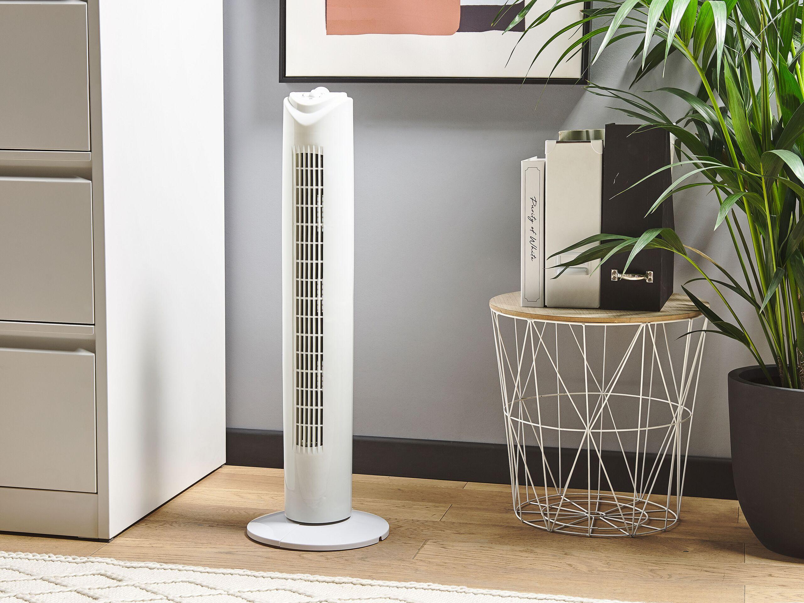 Beliani Ventilatore Verticale Da Terra Con 3 Velocità Colore Bianco 80 Cm Per Soggiorni