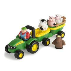 Tomy Trattore John Deere + rimorchio e animali. Carro con i suoni degli animali (LC34