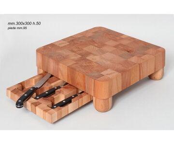Tagliere dello Chef Porta Coltelli, Legno Massello di Faggio, cm 30x30 H.5