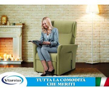 Poltrona Relax Alzapersona, posizione TV, seduta memory, 2 motori mod. Rita Vitarelax (Queens Idrorepellente Camel cons 2 settim)