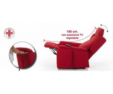 poltrona relax, posizione tv, 2 motori, mod. bianca  (100% cotone stone 21 cons 15 giorni)