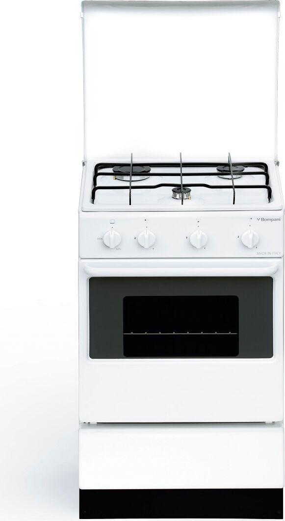 bompani Bi910aa/n Cucina A Gas 3 Fuochi Forno A Gas Con Grill Larghezza X Profondità 48x45 Cm Classe Energetica A Con Coperchio Colore Bianco - Bi910aa/n Ecoline