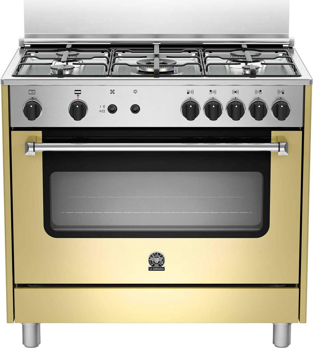 la germania Amn905gevscre Cucina A Gas 5 Fuochi Con Forno A Gas Ventilato Con Grill Larghezza X Profondità 90x60 Cm Classe Energetica A+ Colore Crema - Amn905gevscre Serie Americana