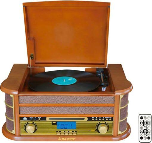 majestic tt-34r bt outlet - giradischi 33/45/78 giri bluetooth radio fm mp3 ingresso aux usb colore legno - tt-34r bt