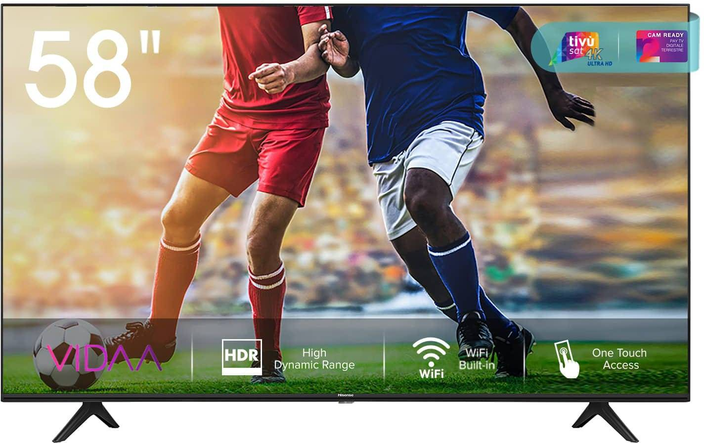 Hisense 58a7100f 58a7100f Smart Tv 58 Pollici 4k Ultra Hd Televisore Led Dvb-T2 Wifi Lan Modalità Hotel Garanzia Italia