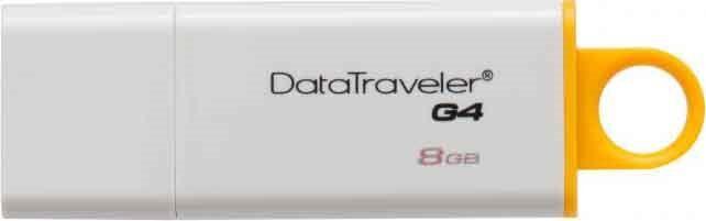 Kingston Dtig4/8gb Bianca Memoria Pen Drive 8gb Superspeed Usb 3.0 / Comp. Usb 2.0 Colore Bianco/giallo - Datatraveler Dtig4/8gb