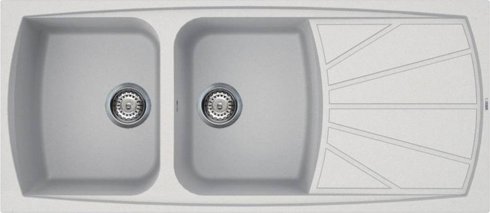 elleci Lgl50068 Lavello Cucina Fragranite 2 Vasche Incasso Con Gocciolatoio Larghezza 116 Cm Materiale Granitek Colore Bianco Titanio G68 - Lgl50068 Serie Living 500