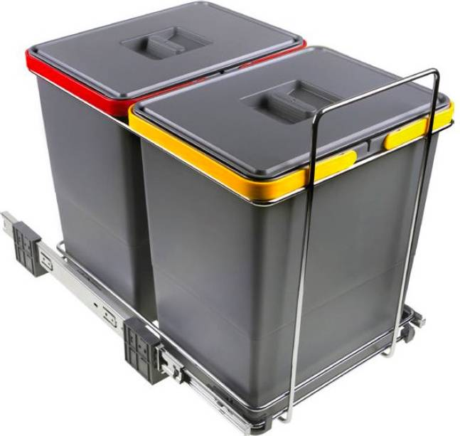 elletipi Pf01 34b2 Bidoni Raccolta Differenziata Estraibili Per Mobili 2 Contenitori Spazzatura 18+18 Litri In Plastica E Acciaio - Pf01 34b2 Ecofil